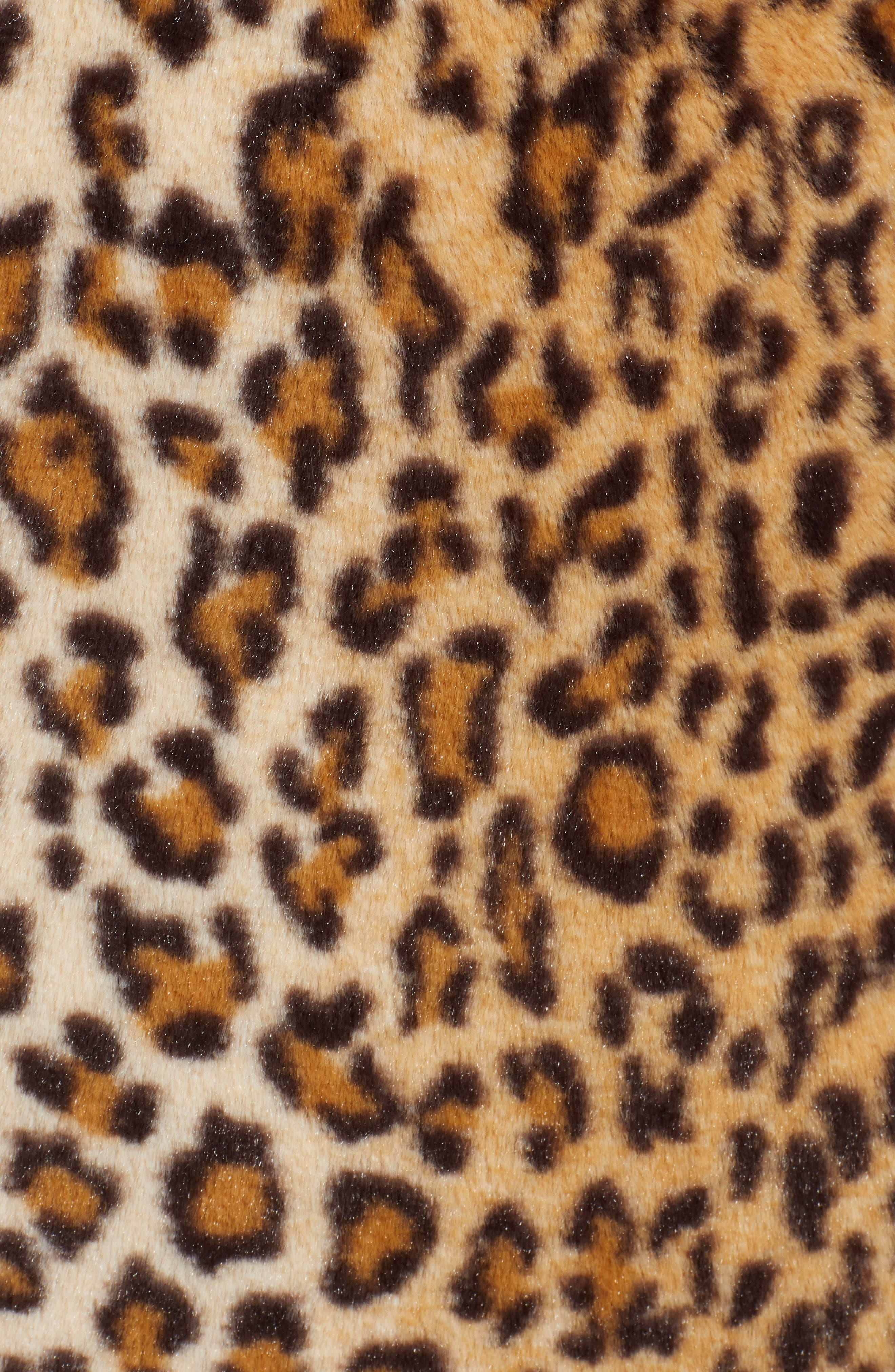 Stefani Leopard Print Faux Fur Coat,                             Alternate thumbnail 7, color,                             200