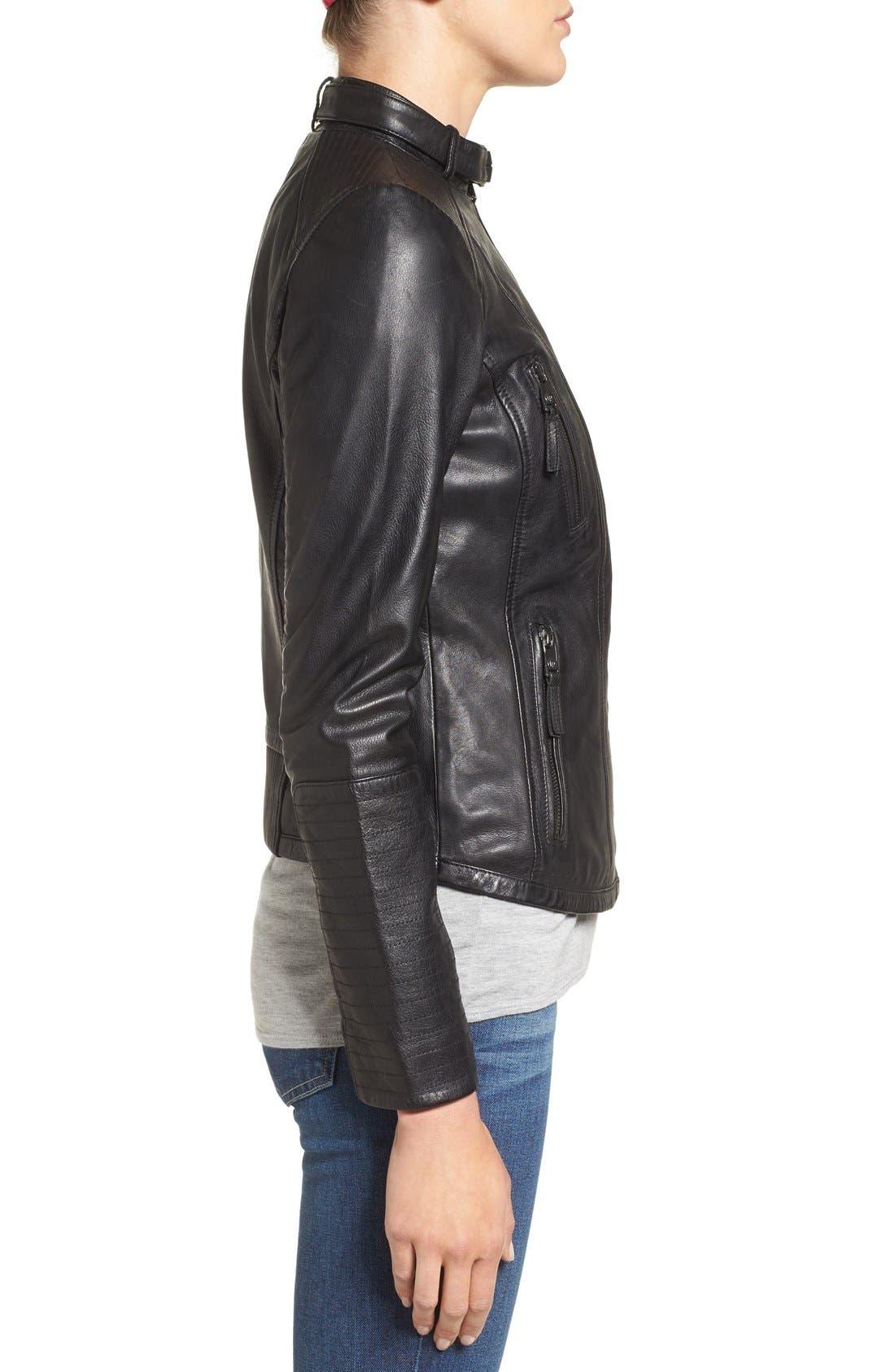 Zip Front Leather Biker Jacket,                             Alternate thumbnail 8, color,