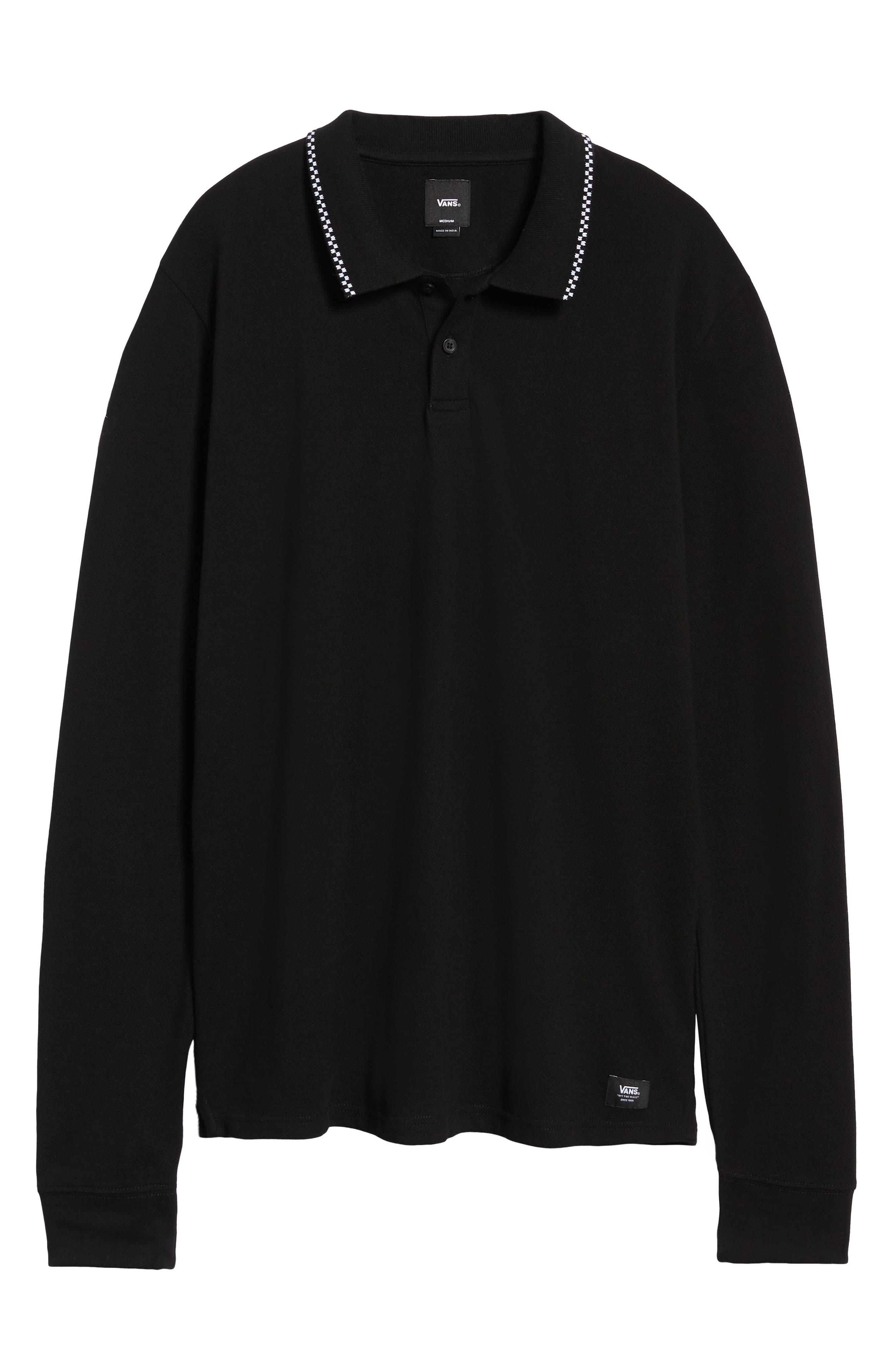 Check Tip Long Sleeve Piqué Polo,                             Alternate thumbnail 6, color,                             BLACK