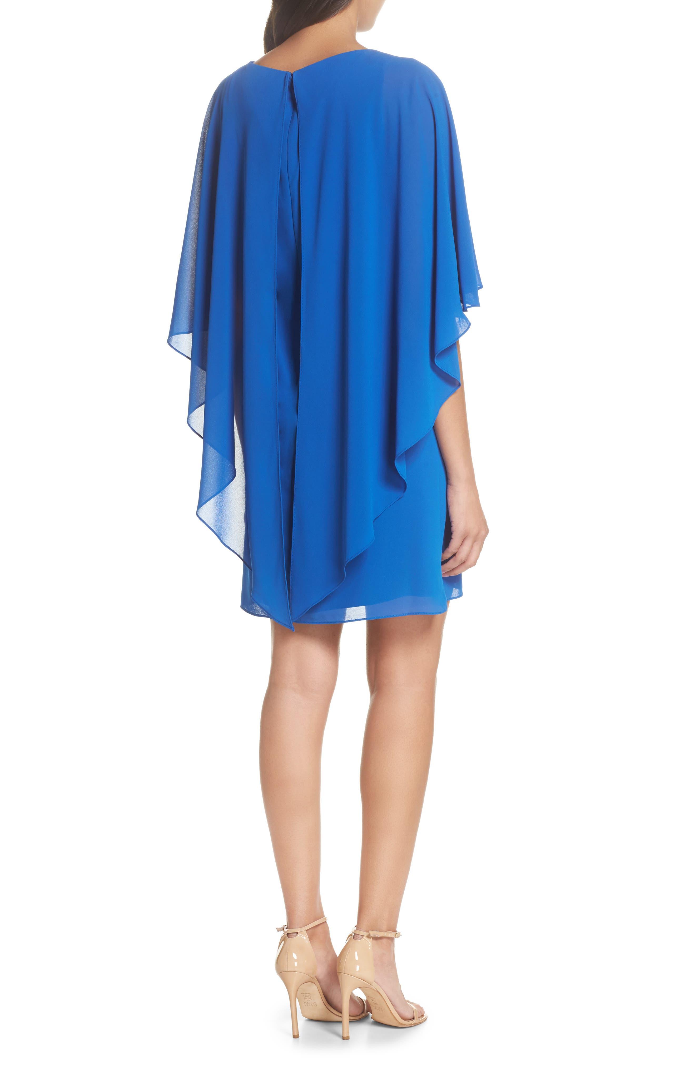 Cape Overlay Dress,                             Alternate thumbnail 2, color,                             ROYAL