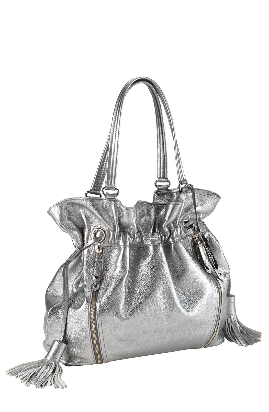 'Bailey' Pebbled Leather Drawstring Tote,                             Main thumbnail 4, color,