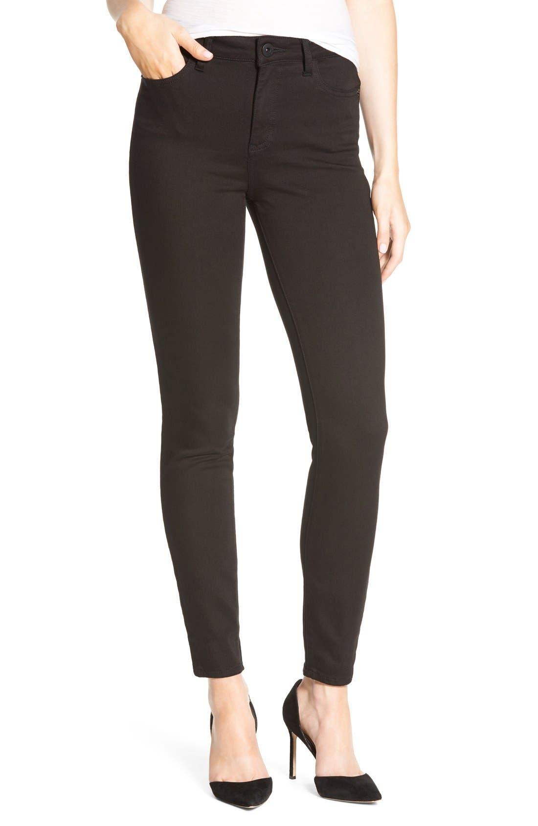 DL1961 Farrow Instaslim High-Rise Skinny Ankle Jeans, Hail in Black