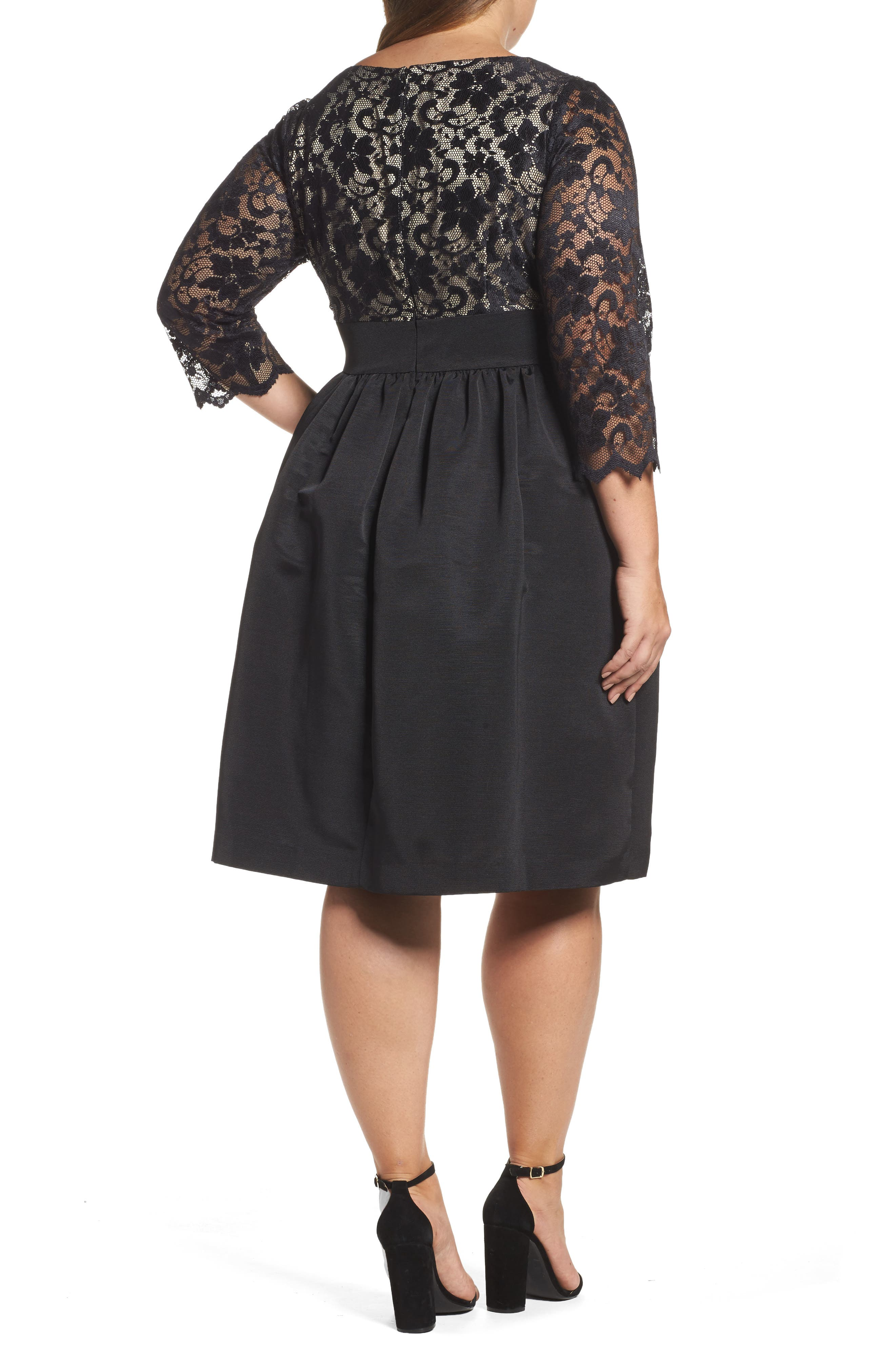 Lace & Faille Dress,                             Alternate thumbnail 5, color,