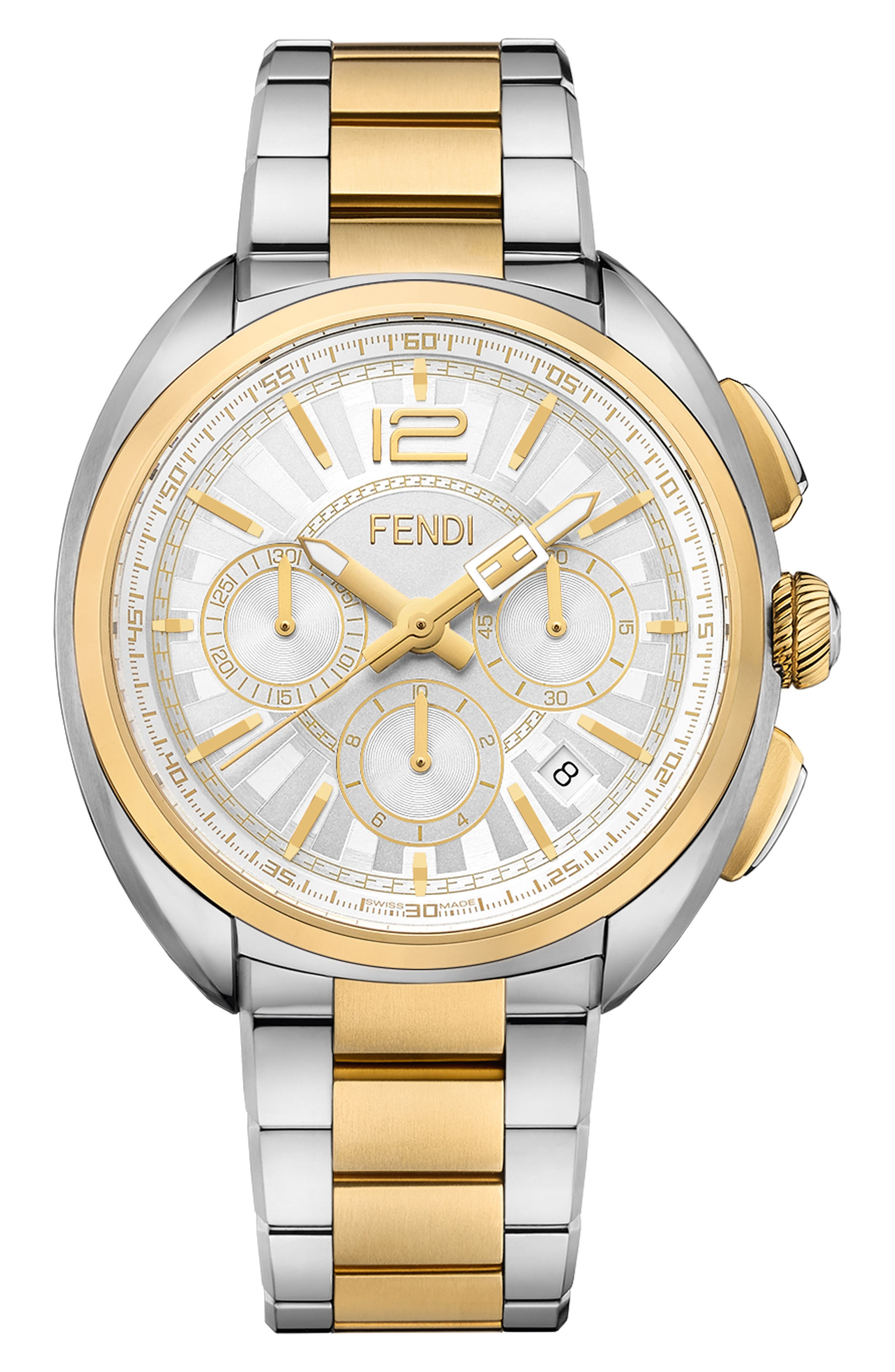 Momento Chronograph Bracelet Watch, 46mm,                         Main,                         color, SILVER/ WHITE/ GOLD