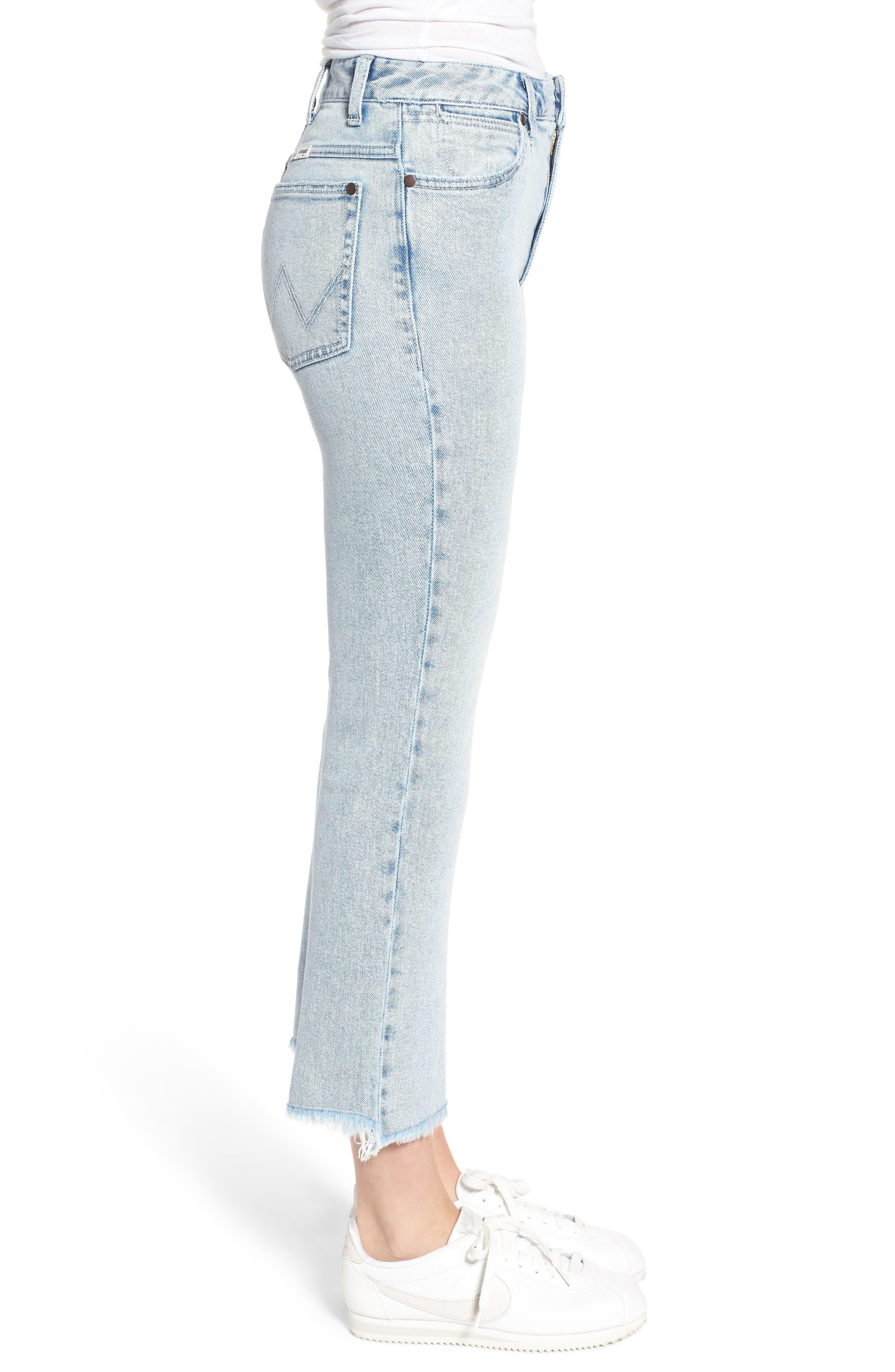 Acid Wash High Waist Crop Jeans,                             Alternate thumbnail 3, color,                             454