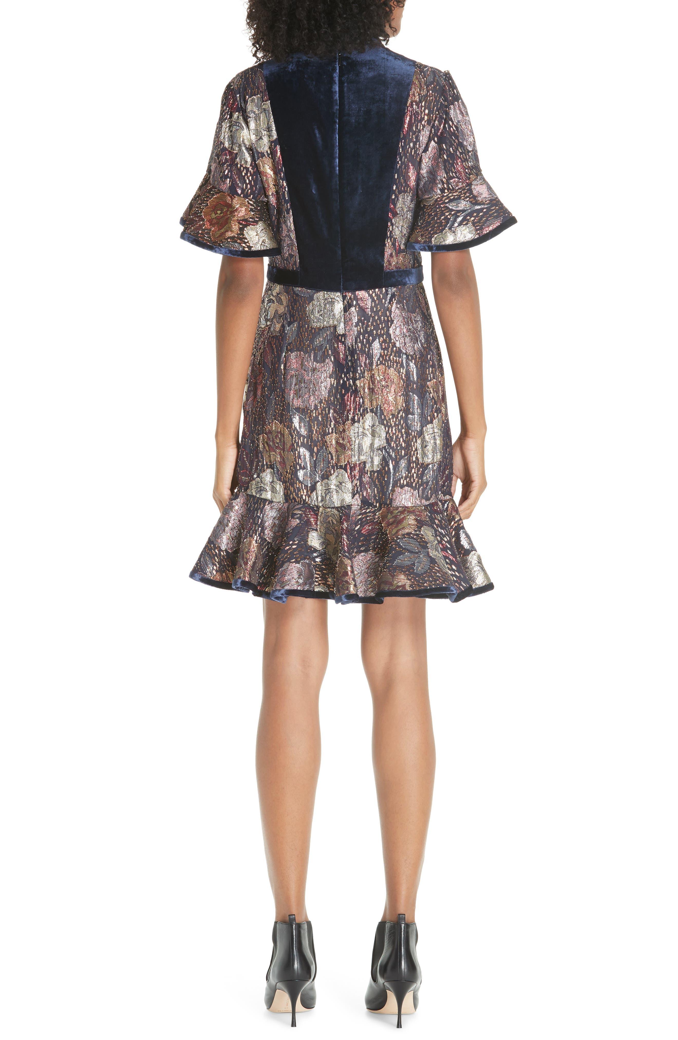 REBECCA TAYLOR,                             Velvet and Metallic Tapestry Dress,                             Alternate thumbnail 2, color,                             500