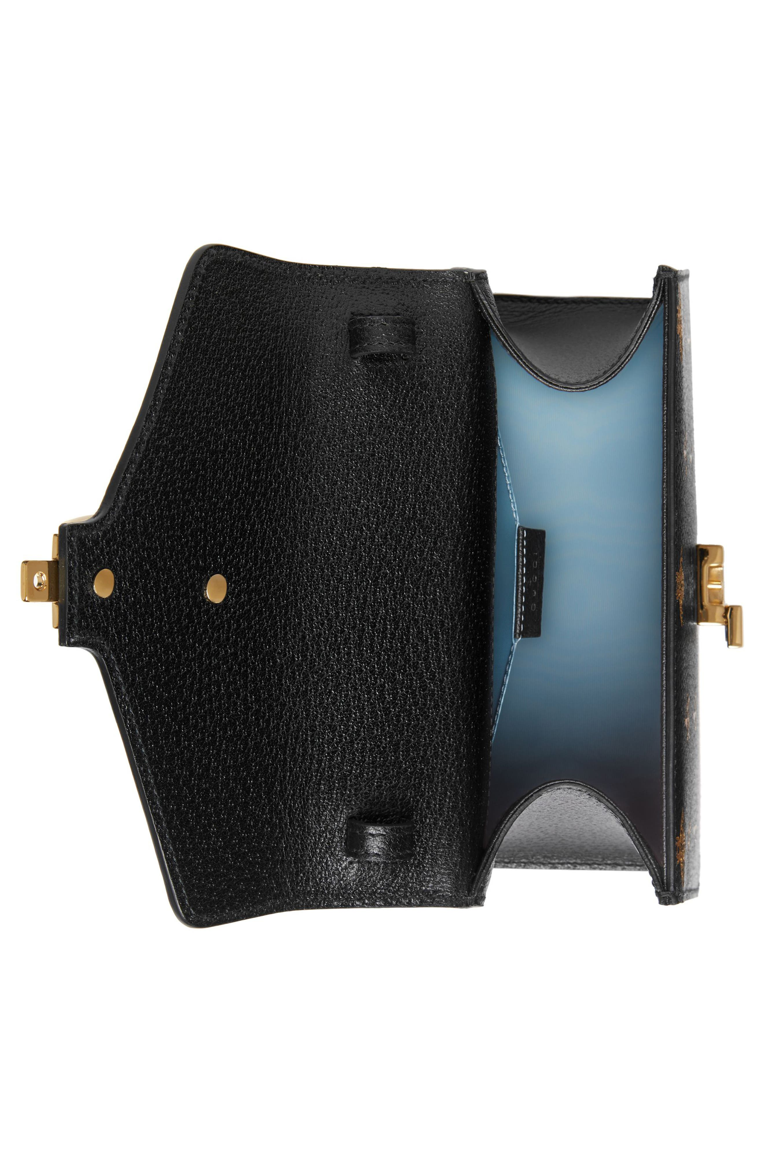 Small Sylvie Top Handle Leather Shoulder Bag,                             Alternate thumbnail 3, color,                             NERO/ ORO/ VERT/ RED