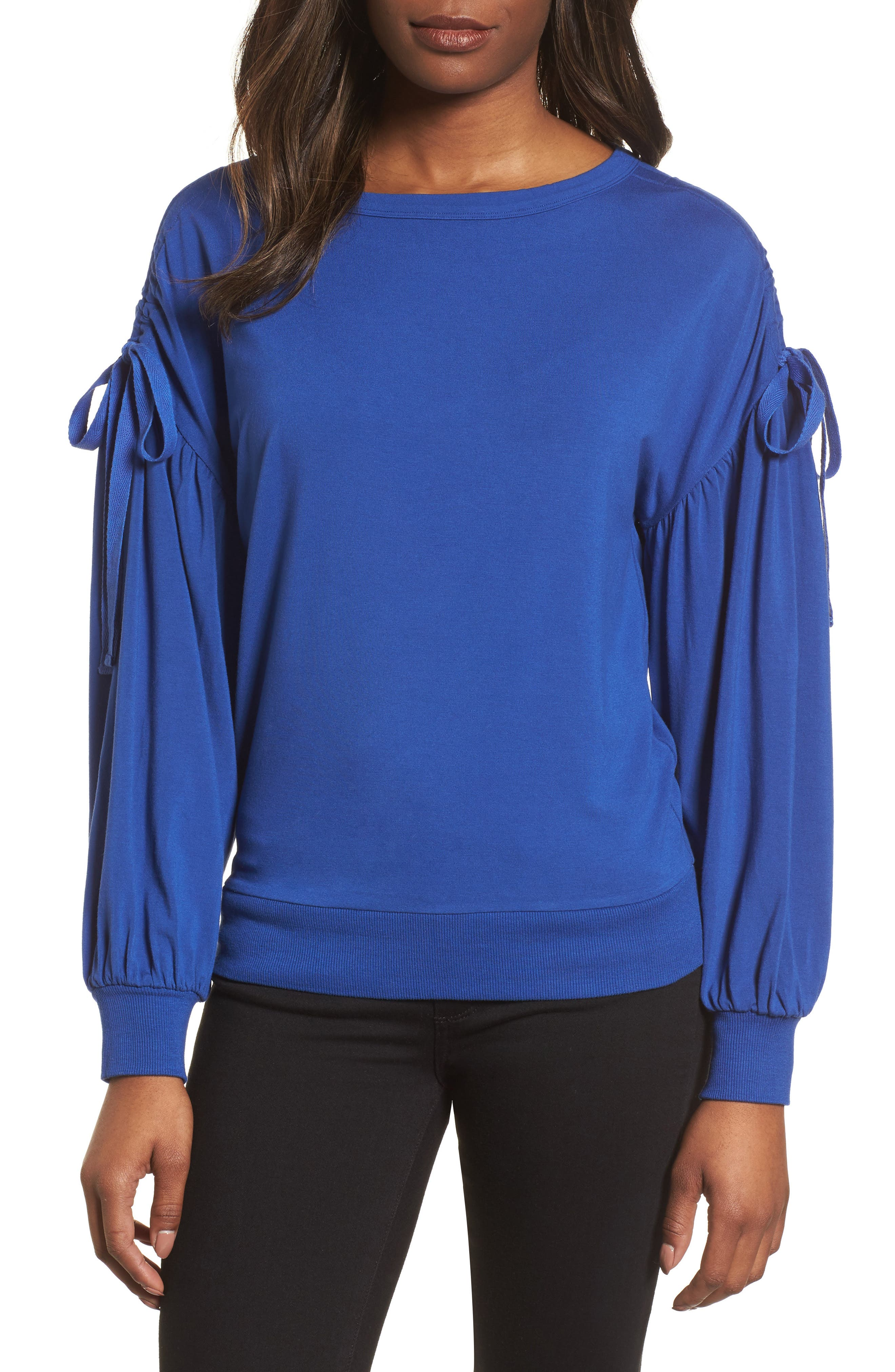 Ruched Bow Sleeve Top,                             Main thumbnail 3, color,