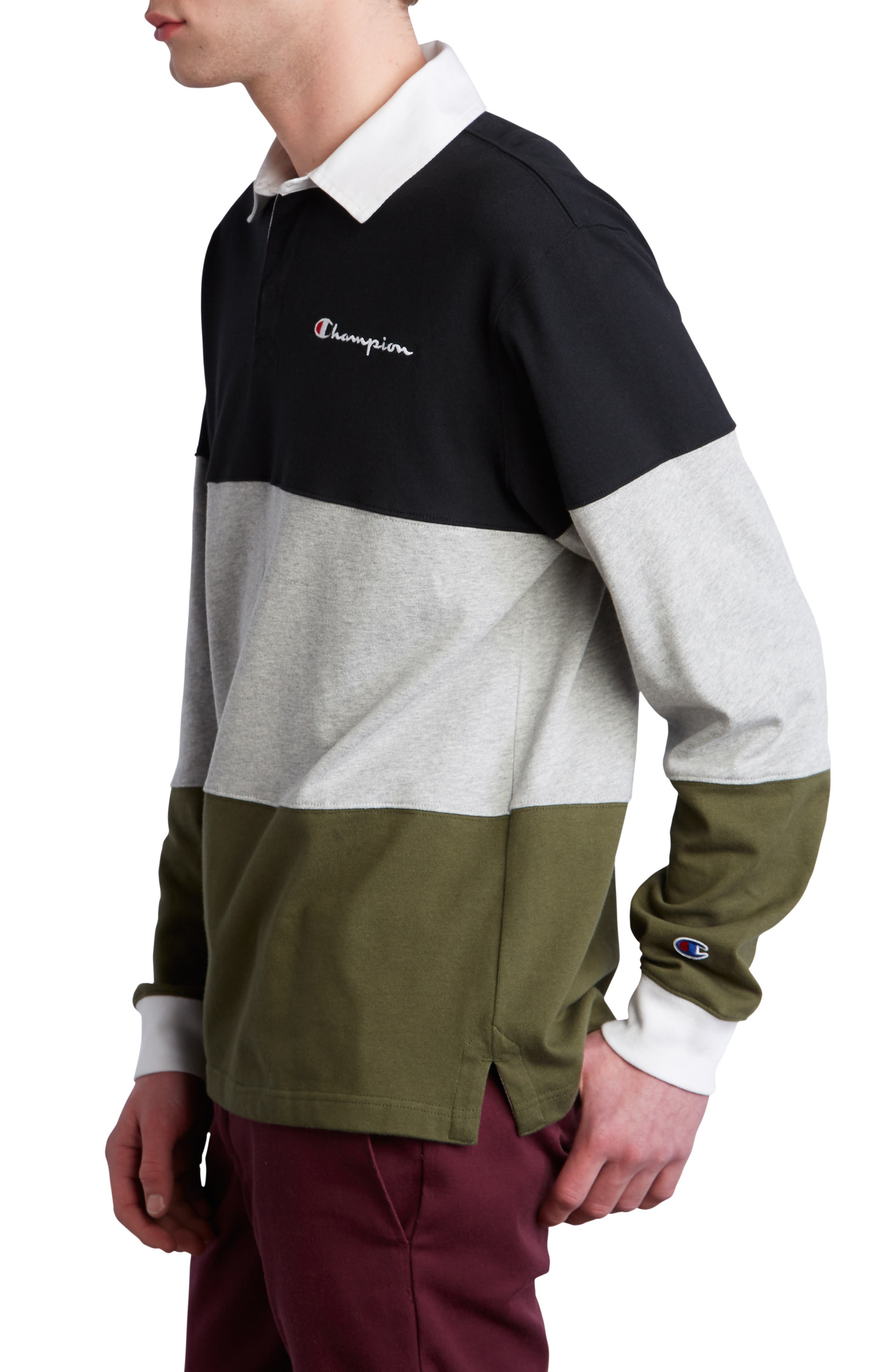 Colorblock Rugby Shirt,                             Alternate thumbnail 3, color,                             BLACK/ GREY/ HIKER GREEN