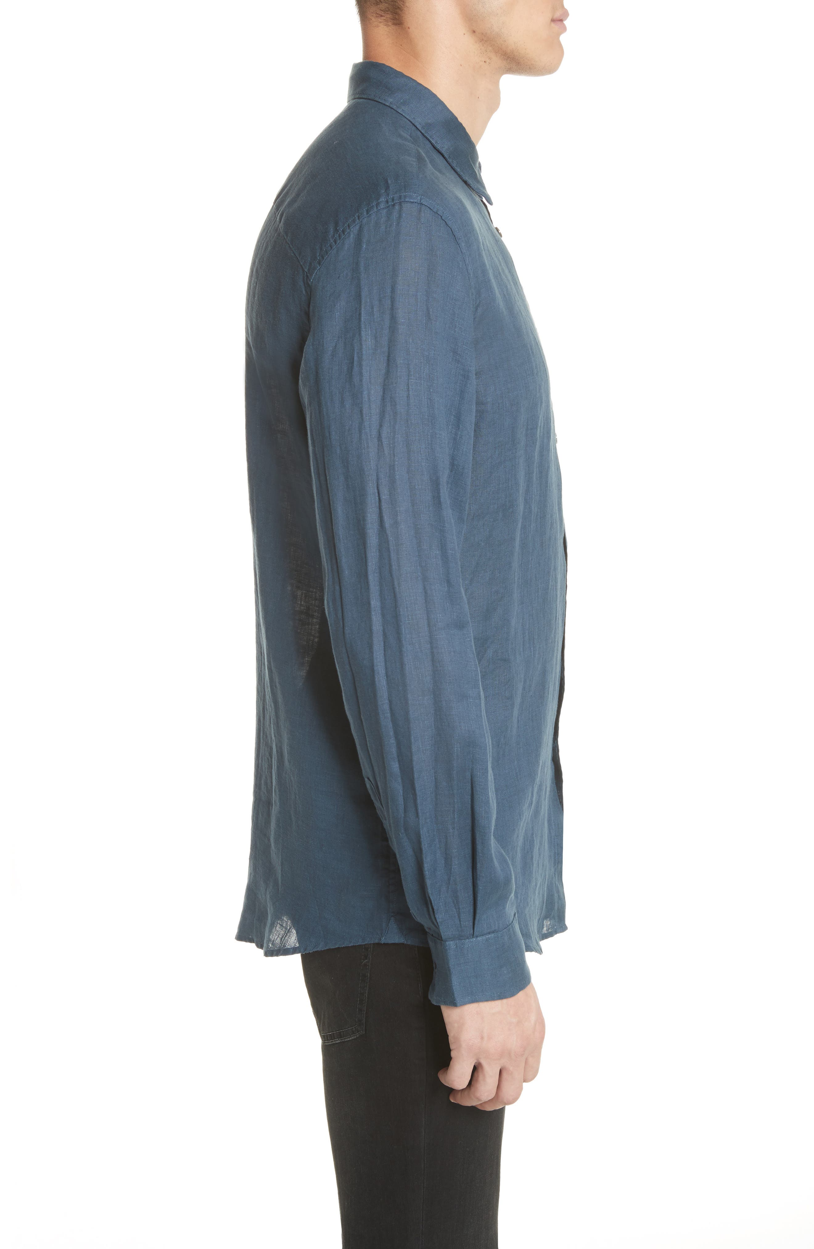 Garment Dyed Linen Shirt,                             Alternate thumbnail 3, color,                             LAKE BLUE