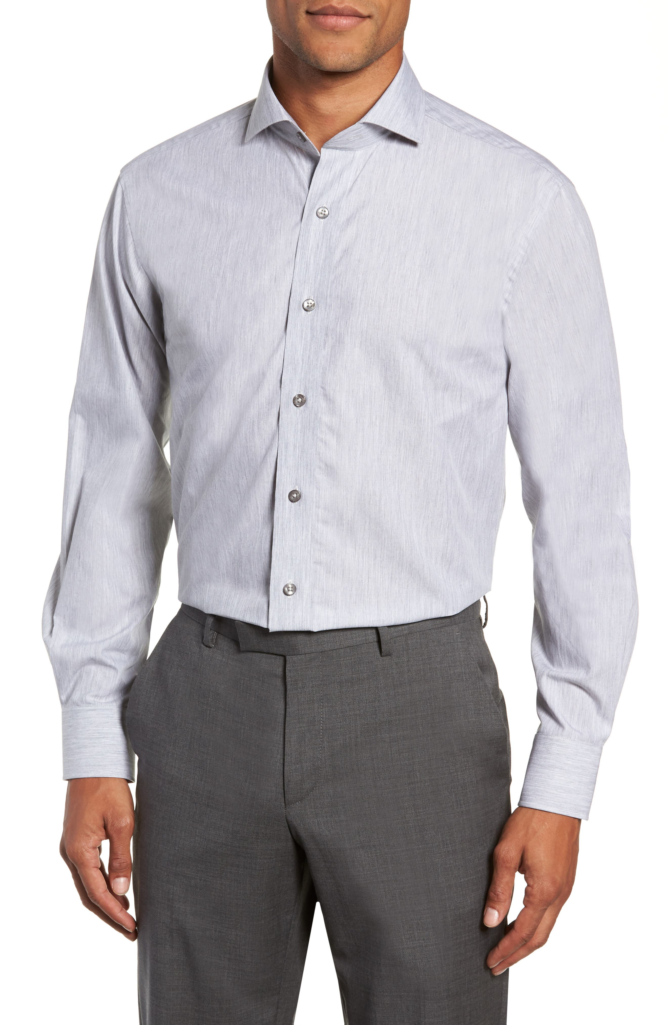 Trim Fit Solid Dress Shirt,                             Main thumbnail 1, color,                             050