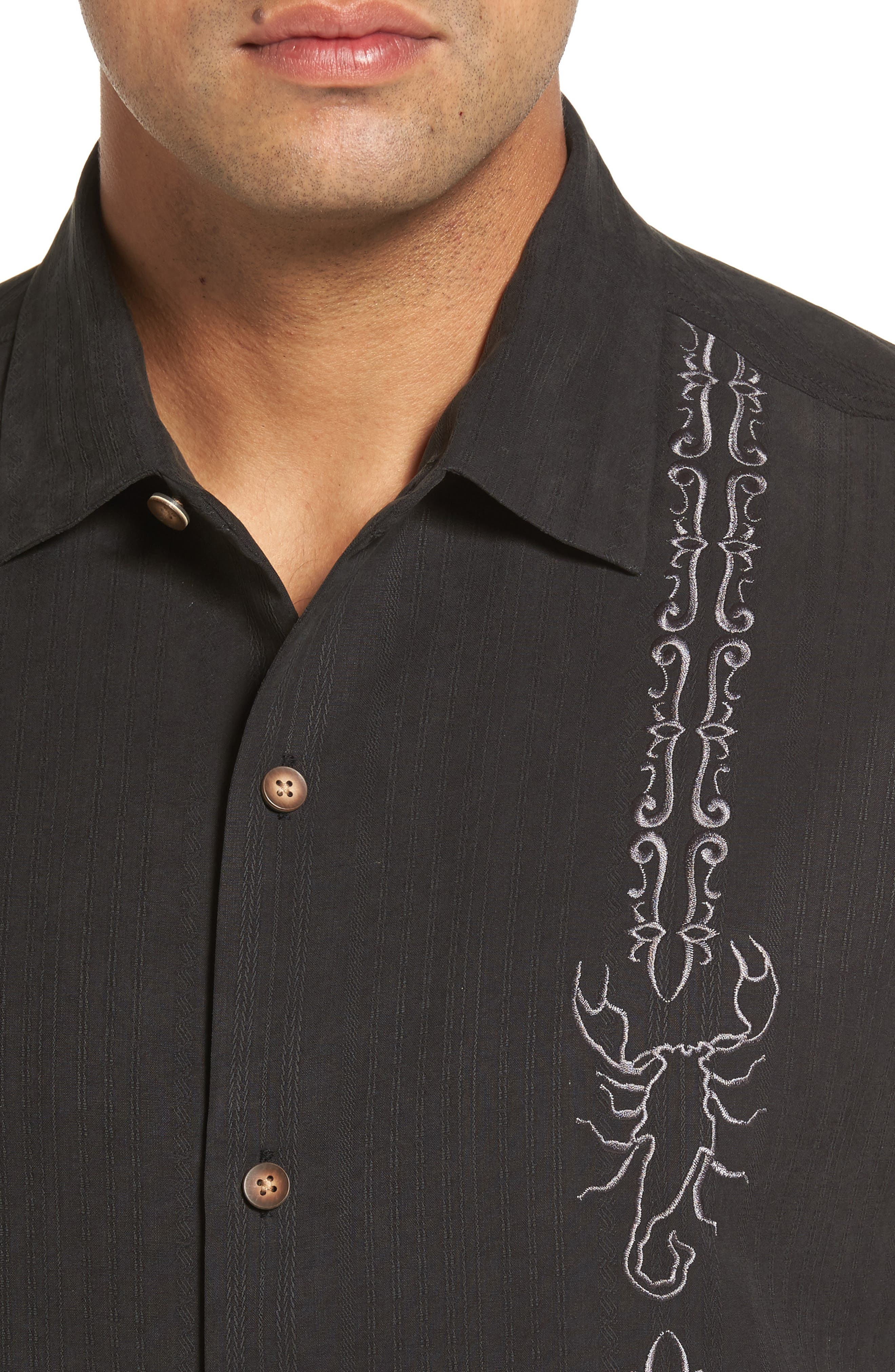 Drink Your Poison Embroidered Silk Woven Shirt,                             Alternate thumbnail 4, color,                             001