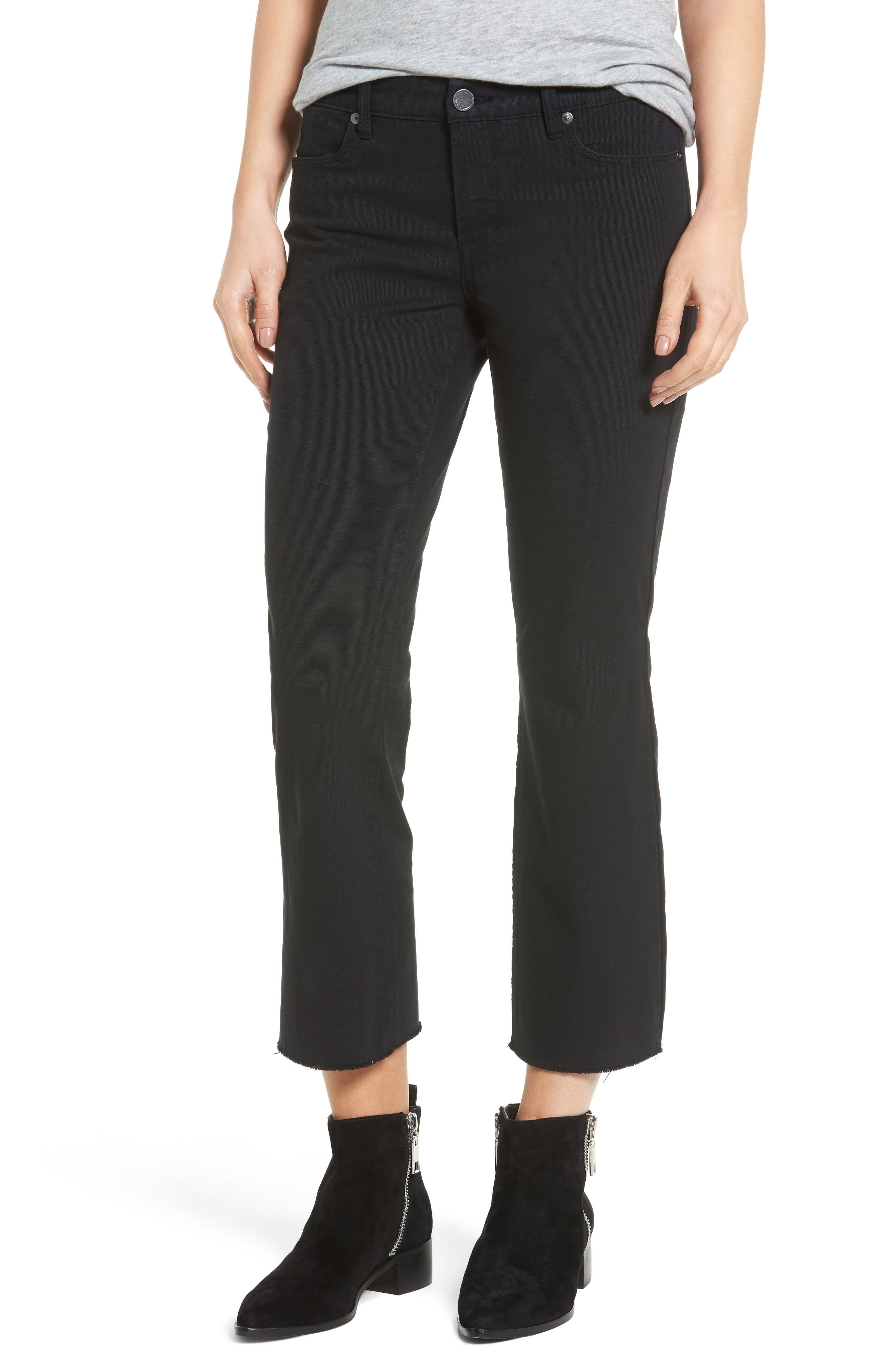 Canvas Cropped Kick Flare Jeans,                             Main thumbnail 1, color,                             001