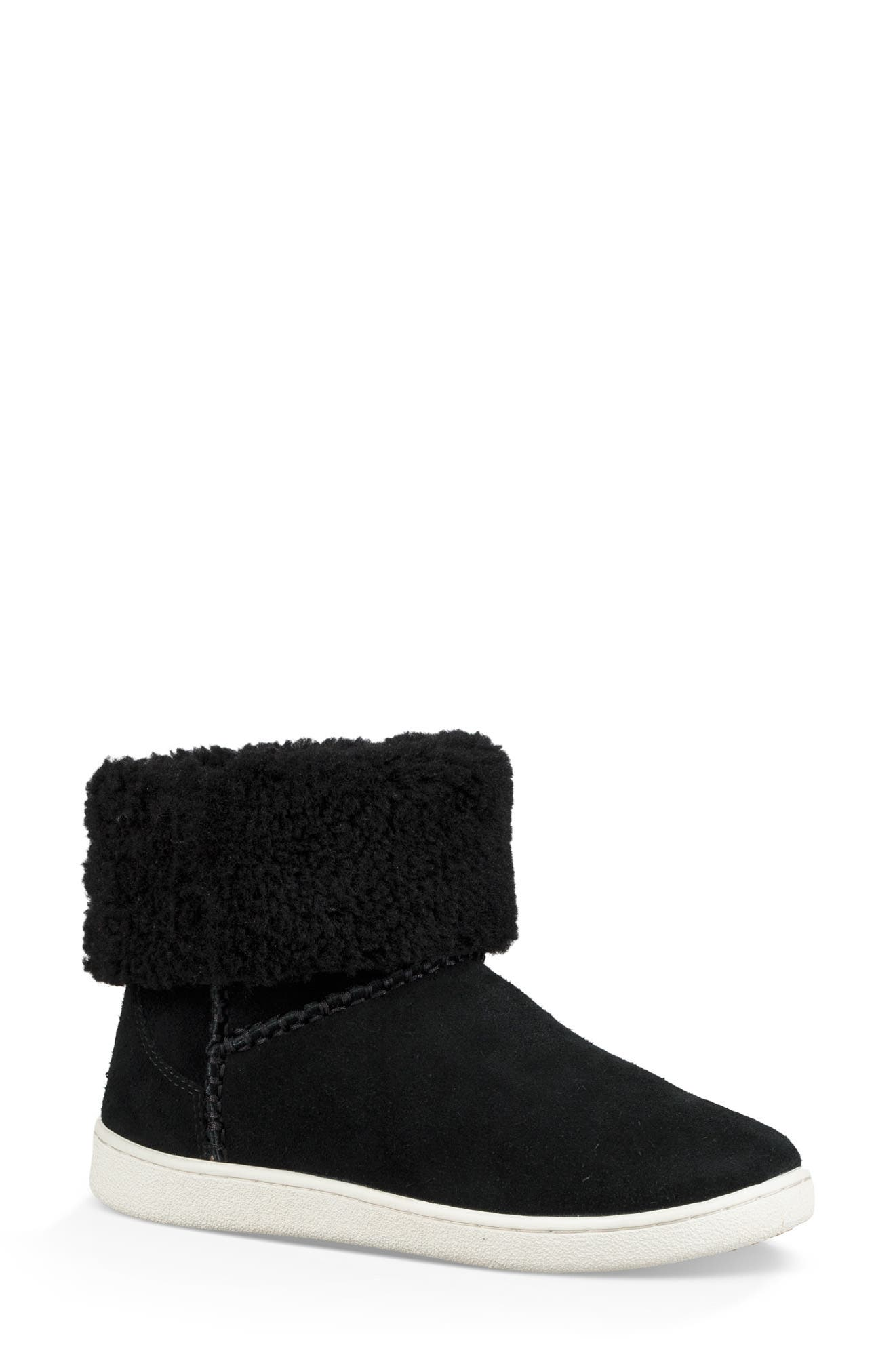 Mika Classic Genuine Shearling Sneaker,                         Main,                         color, BLACK
