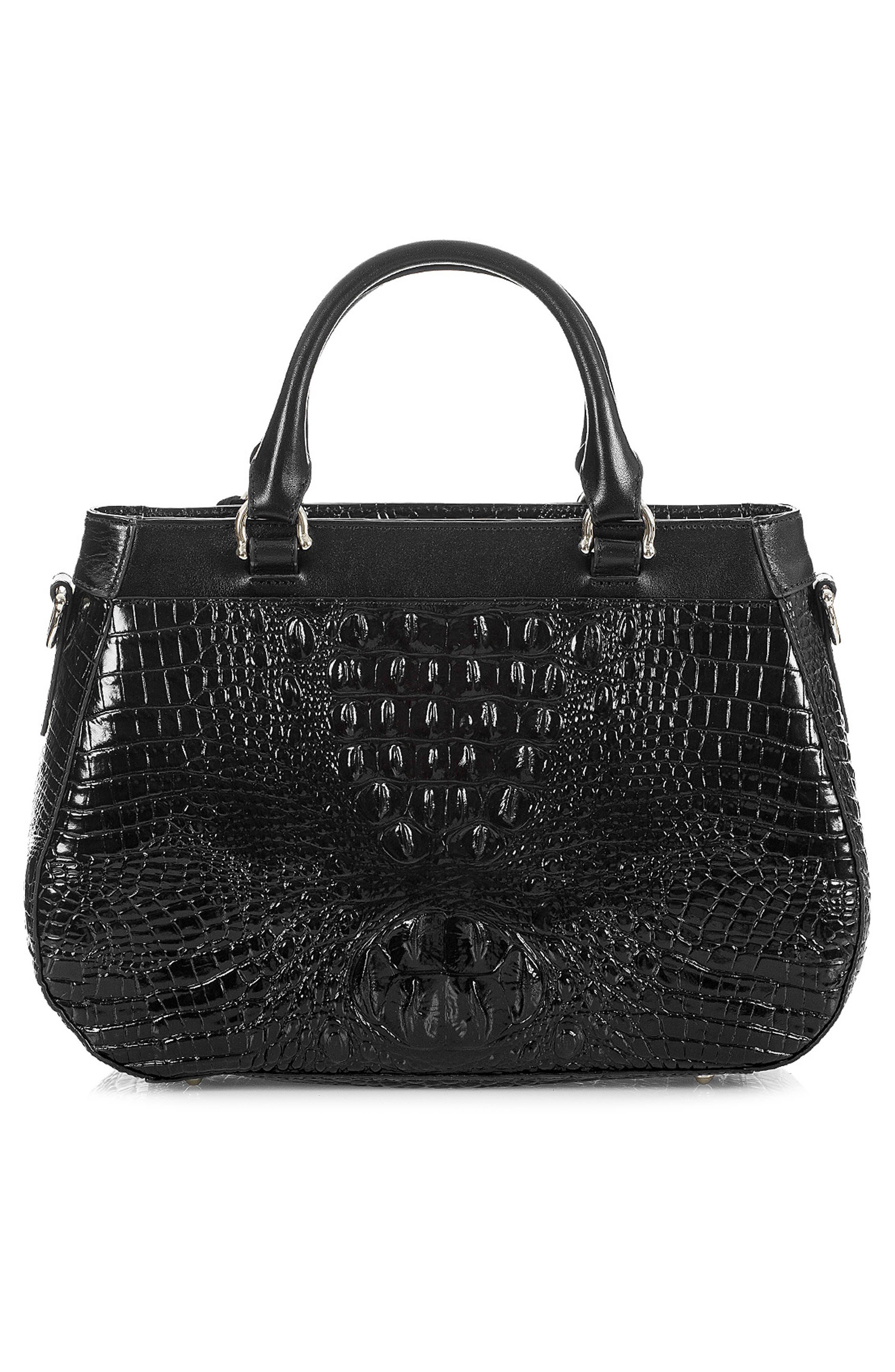 Raelynn Croc Embossed Leather Satchel,                             Alternate thumbnail 3, color,                             BLACK