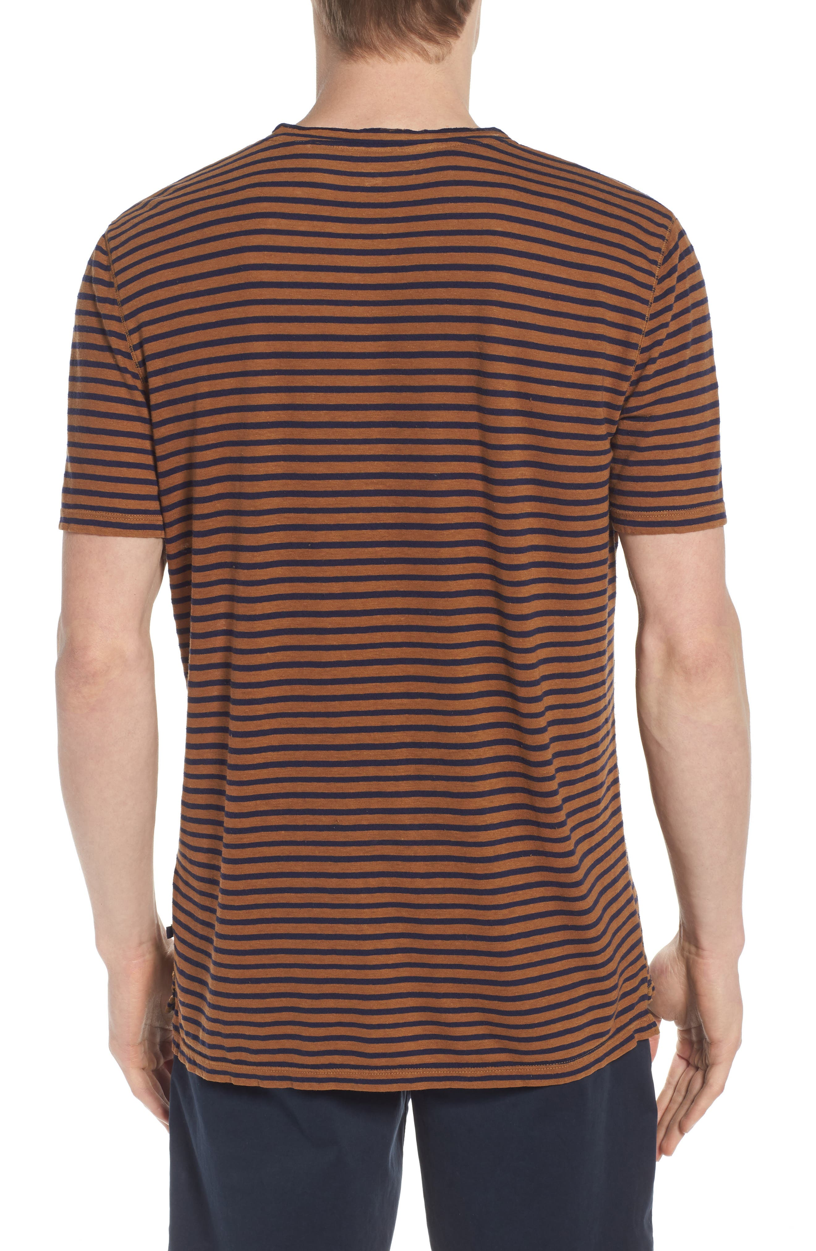 Theo Striped Cotton & Linen T-Shirt,                             Alternate thumbnail 2, color,                             BRONZE CLAY/ NAVY
