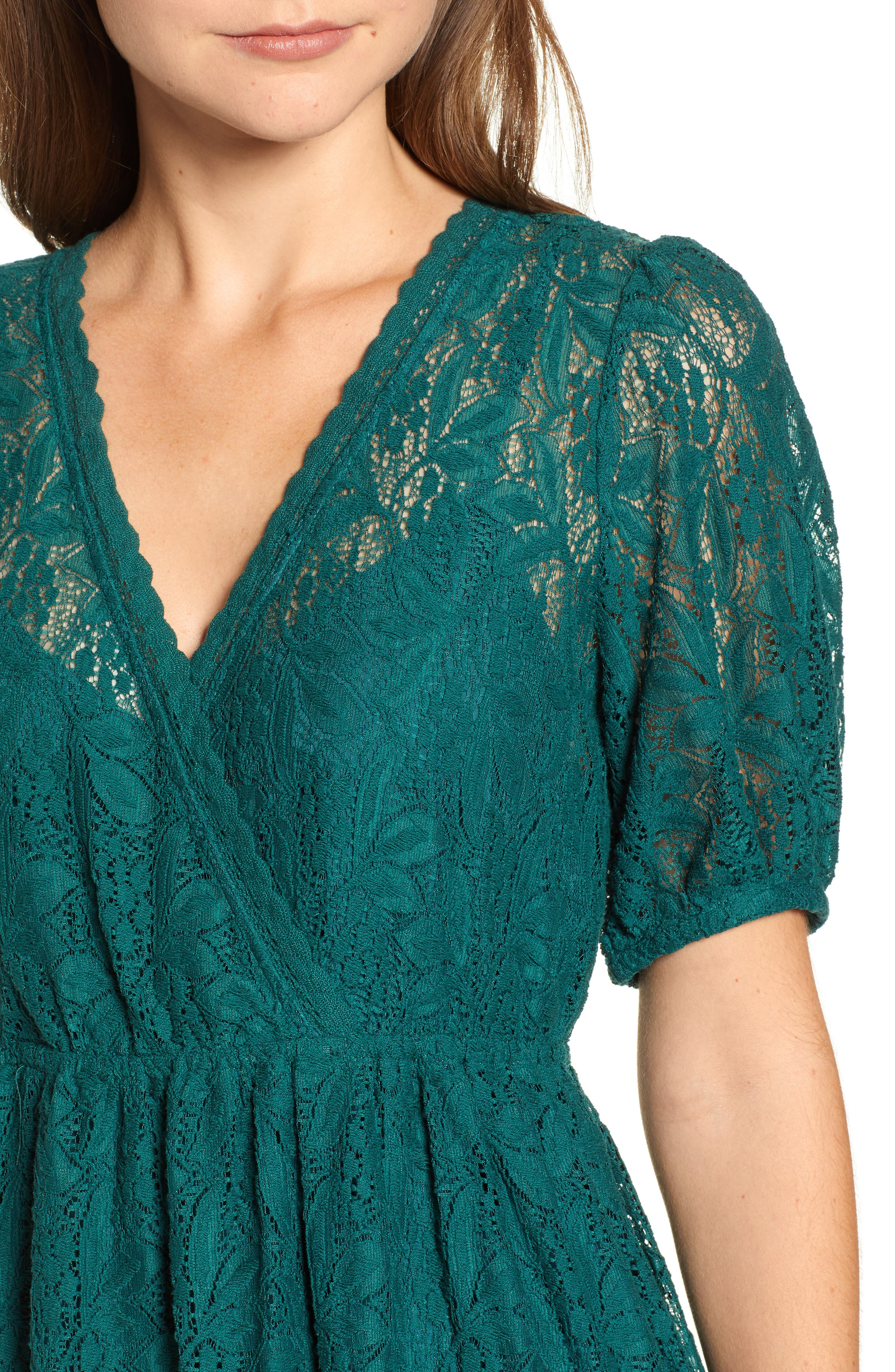 Puff Sleeve Lace Dress,                             Alternate thumbnail 4, color,                             301