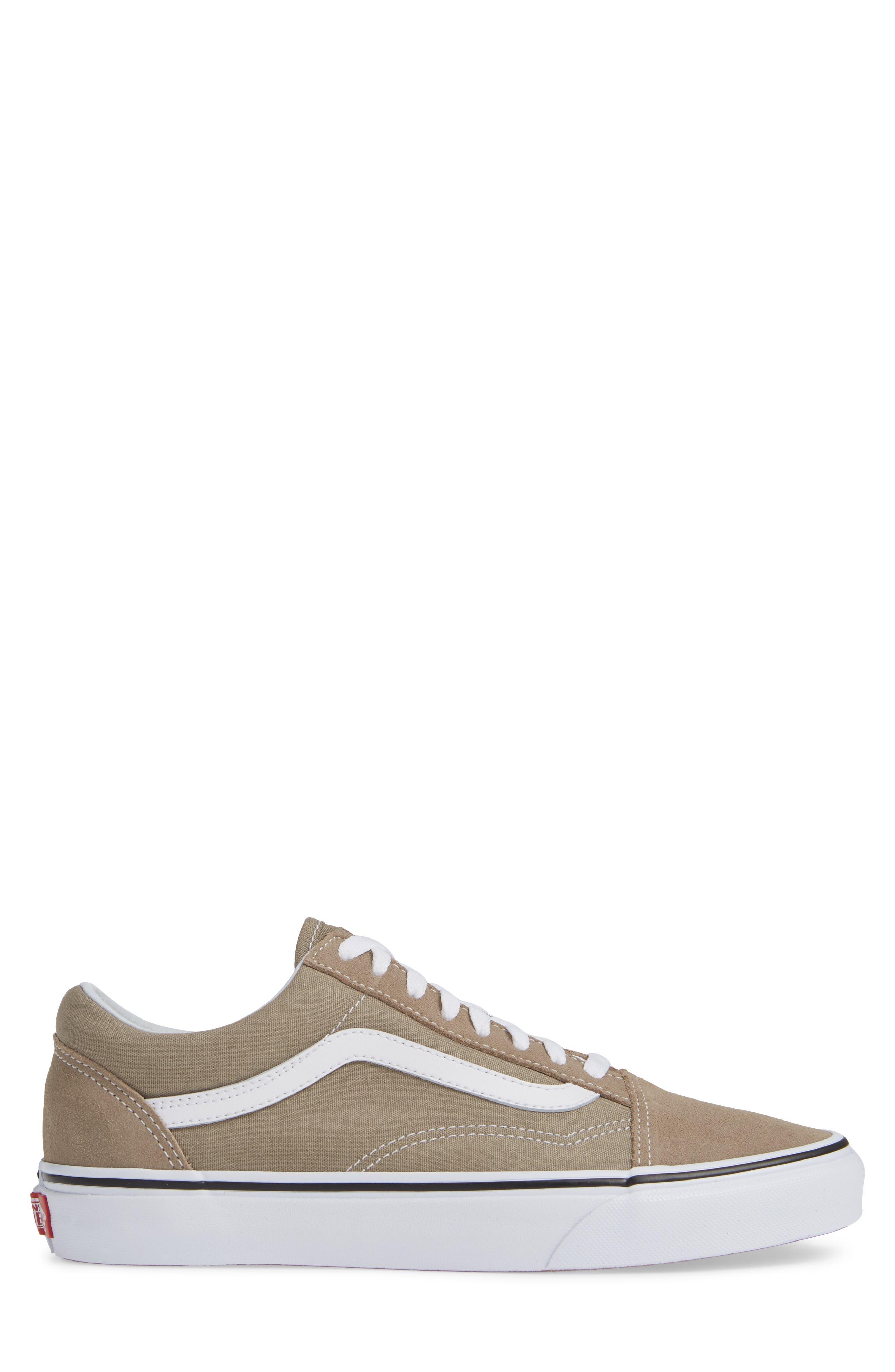 'Old Skool' Sneaker,                             Alternate thumbnail 3, color,                             DESERT TAUPE/ WHITE CANVAS