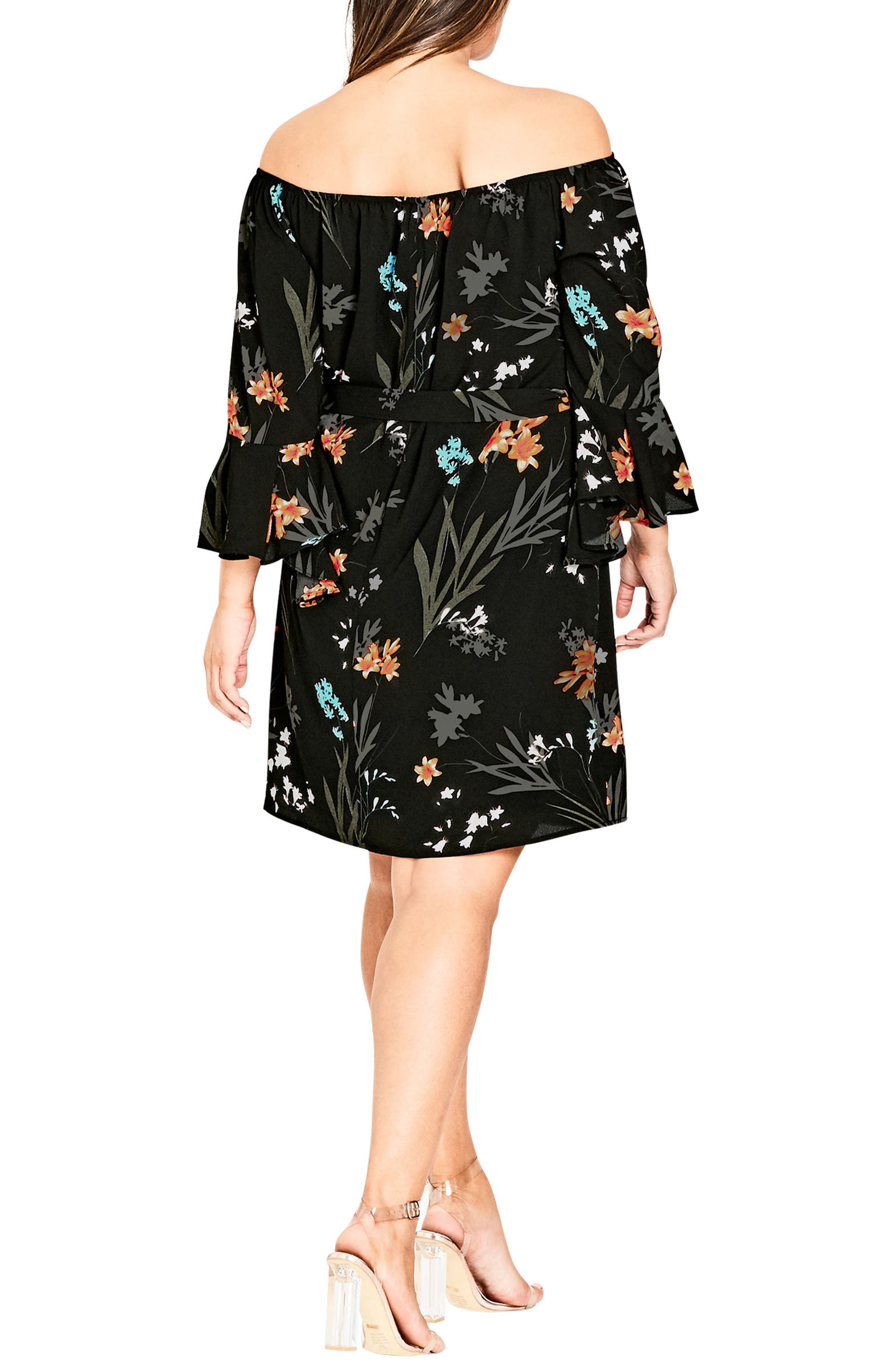Wild Floral Off the Shoulder Tunic Dress,                             Alternate thumbnail 2, color,                             601
