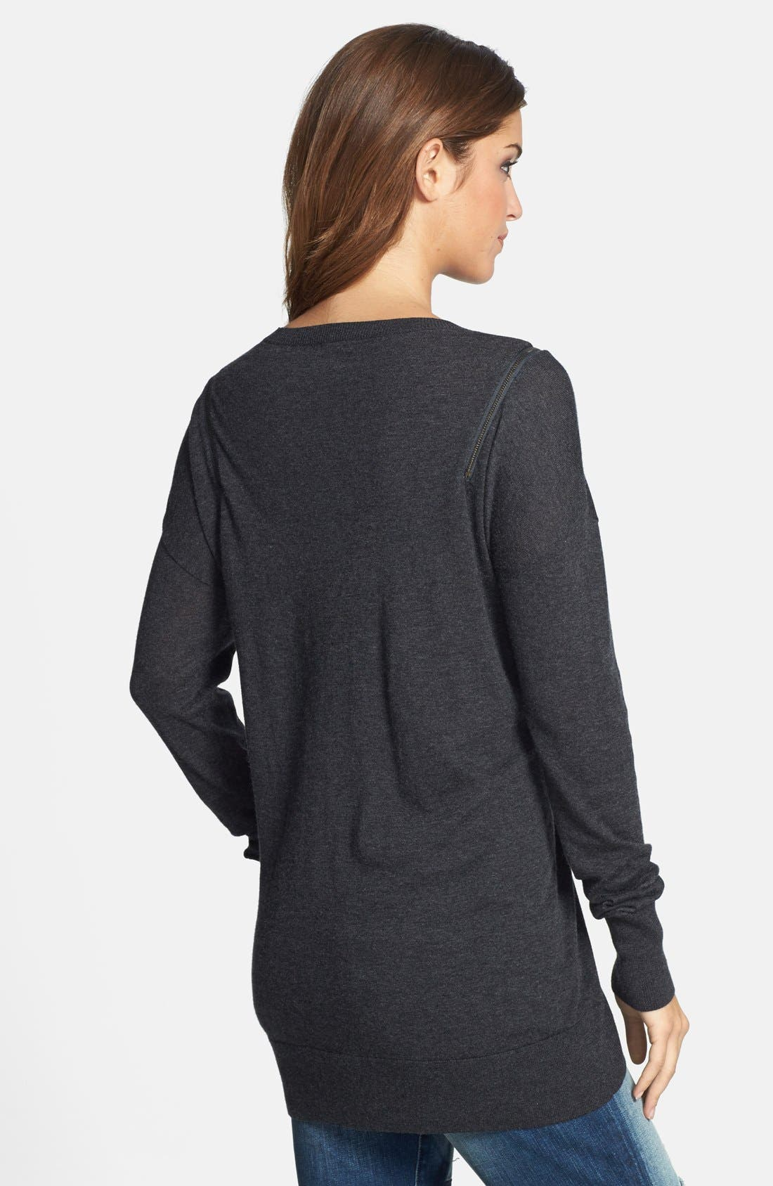 Zip Shoulder Crewneck Tunic Sweater,                             Alternate thumbnail 2, color,                             021