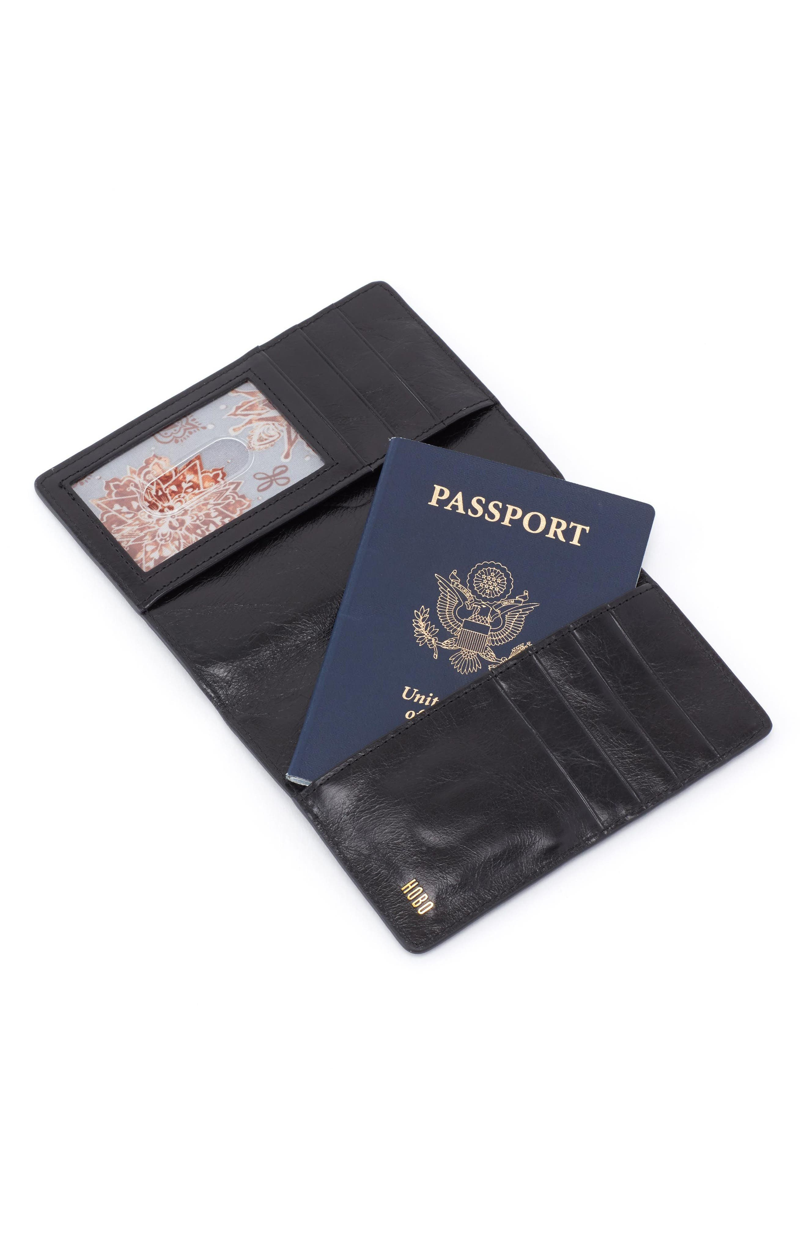 Quest Calfskin Leather Passport Wallet,                             Alternate thumbnail 2, color,                             001