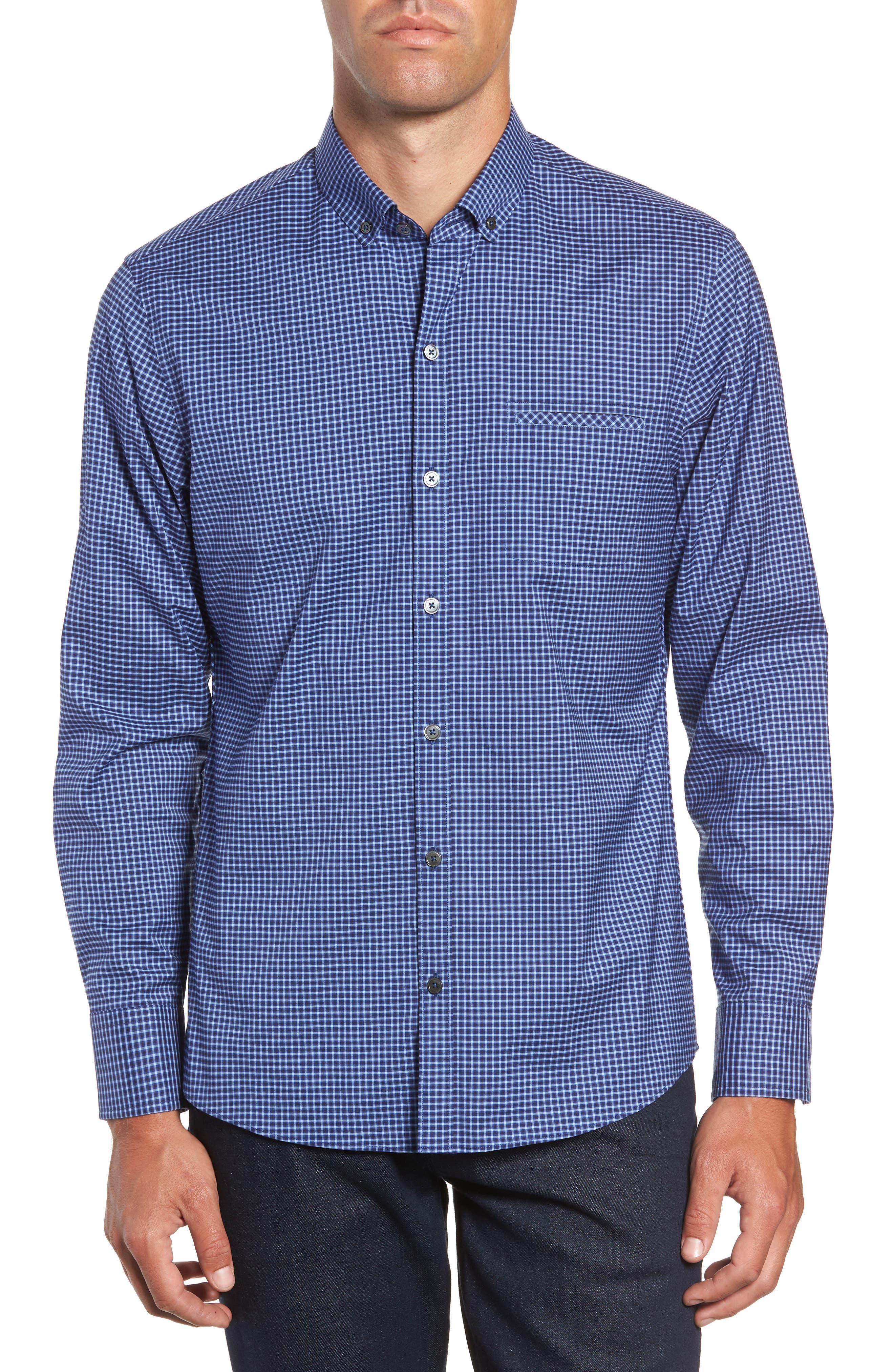 Matusiak Regular Fit Check Sport Shirt,                         Main,                         color, MIDNIGHT