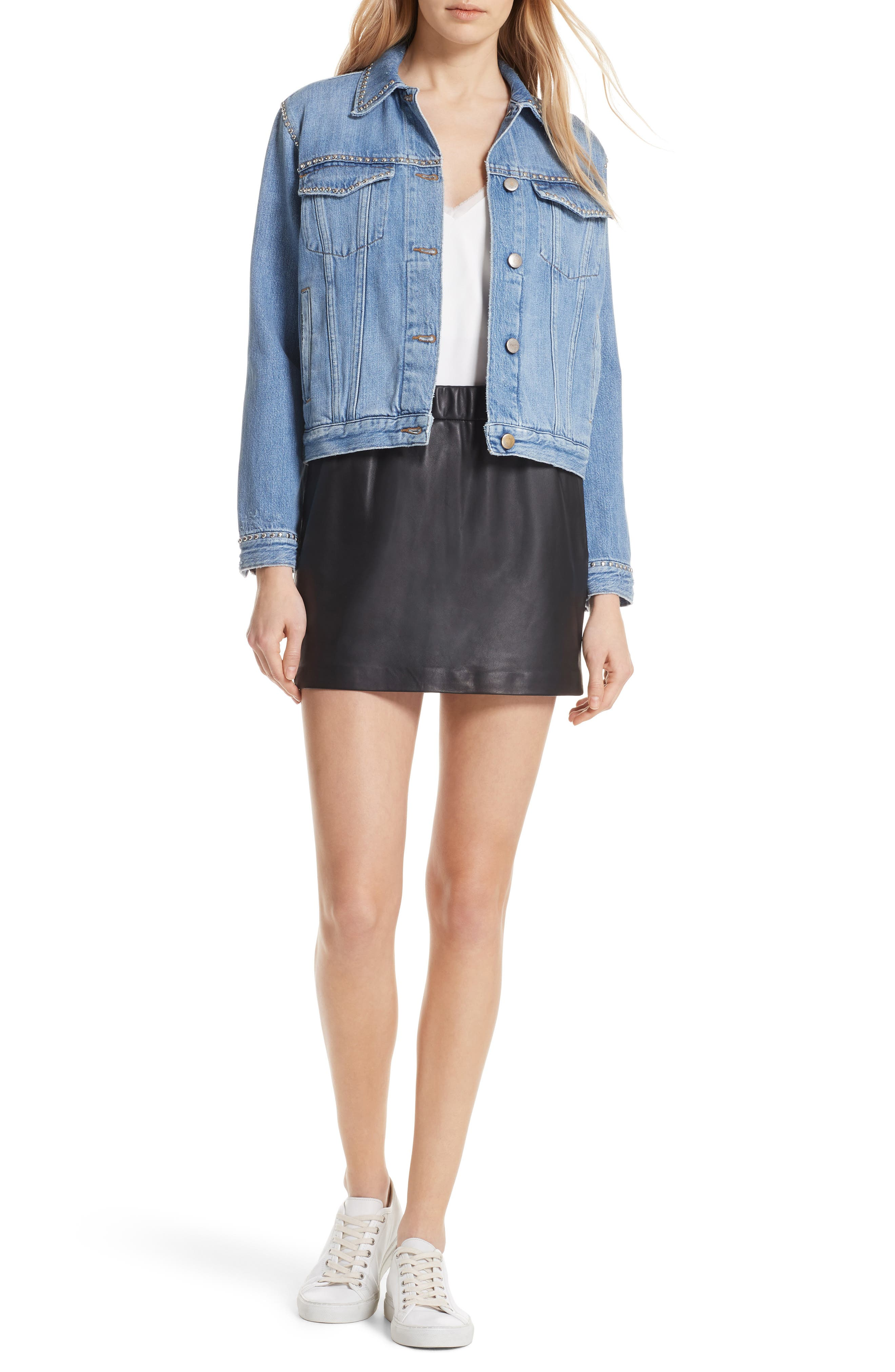 Pull-On Leather Miniskirt,                             Alternate thumbnail 7, color,                             NOIR