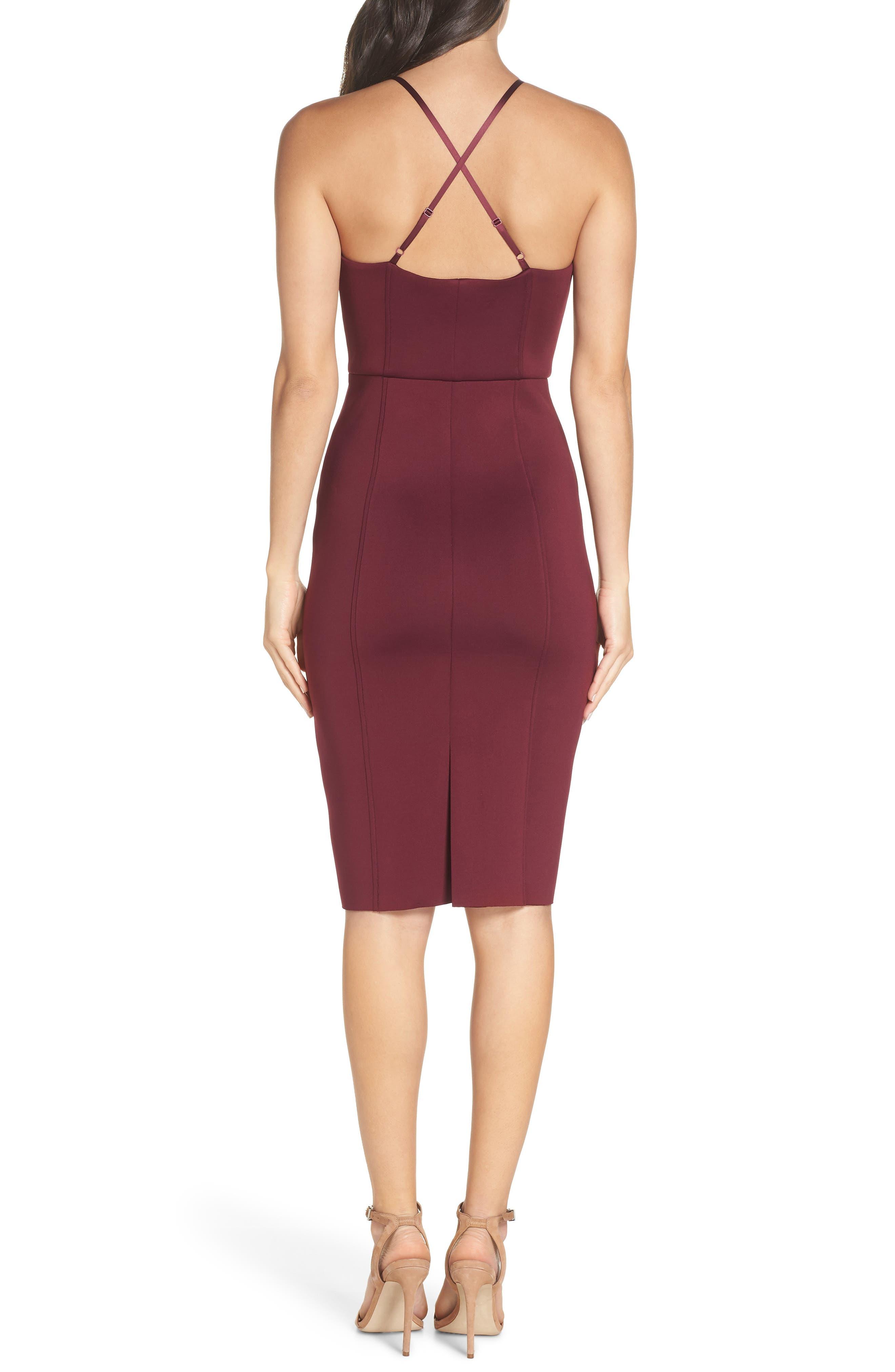 CHELSEA28,                             Scuba Sheath Dress,                             Alternate thumbnail 2, color,                             BURGUNDY