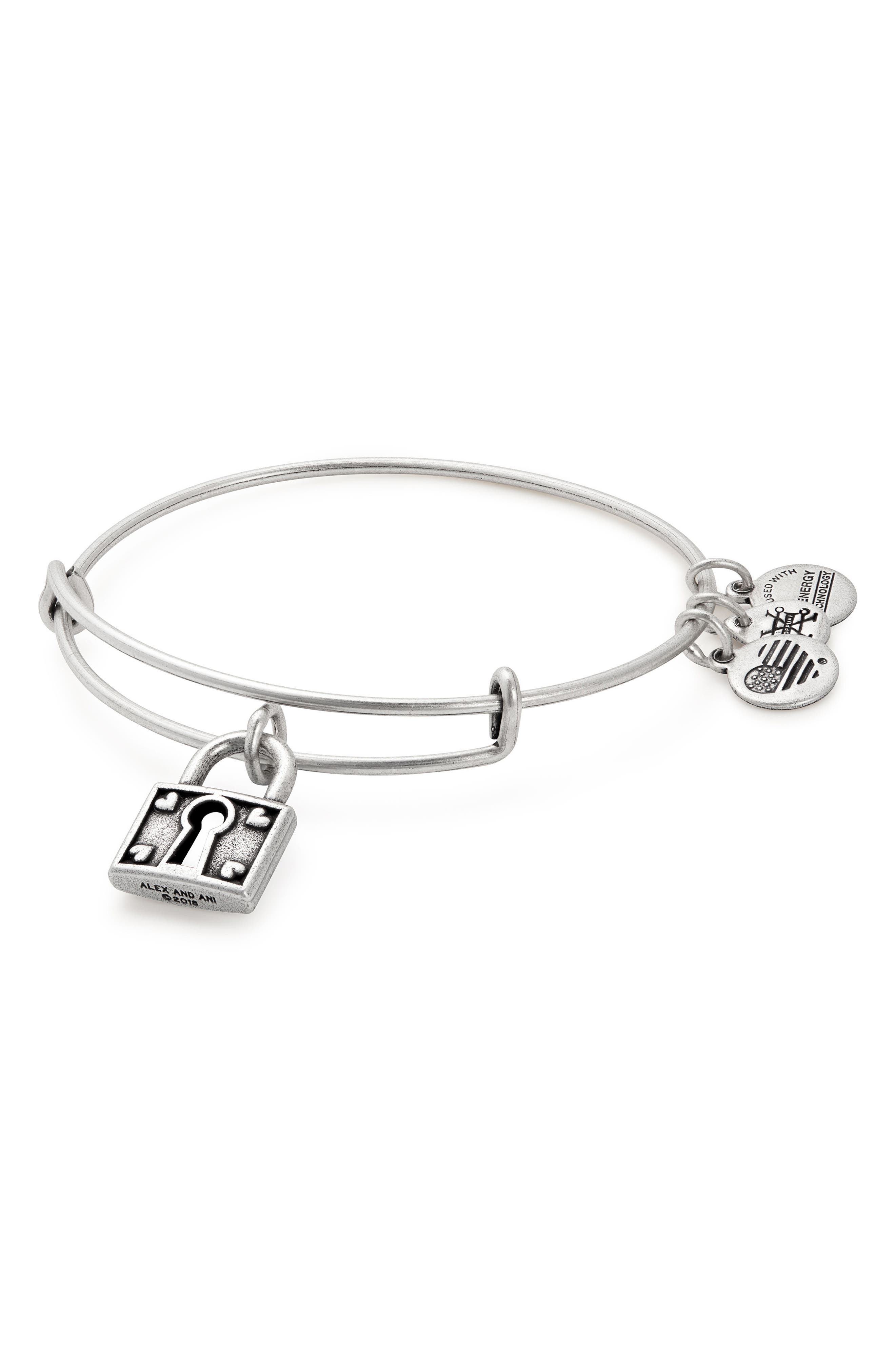 Unbreakable Love Adjustable Wire Bangle,                             Main thumbnail 1, color,                             SILVER