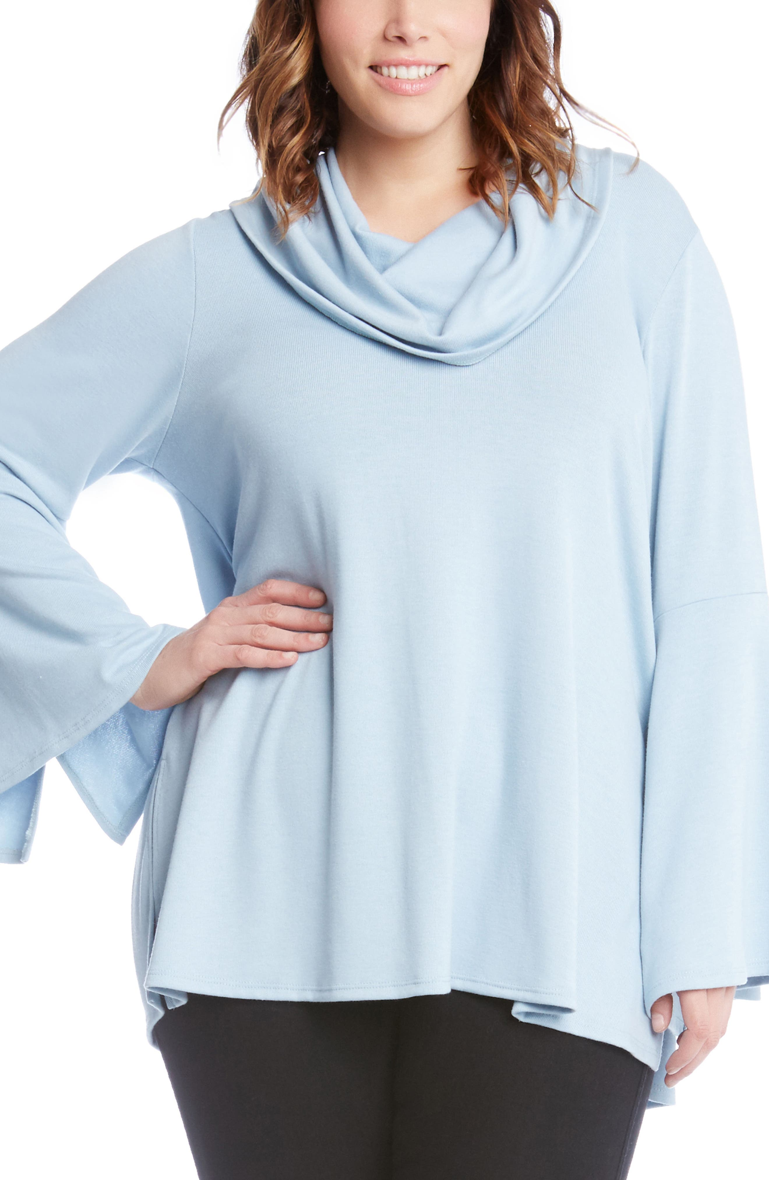Flare Sleeve Cowl Neck Sweater,                             Main thumbnail 2, color,