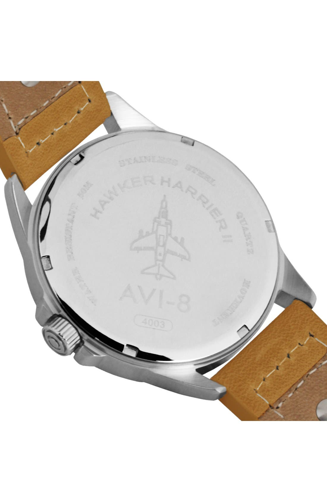'Hawker Harrier II' Leather Strap Watch, 45mm,                             Alternate thumbnail 4, color,                             001
