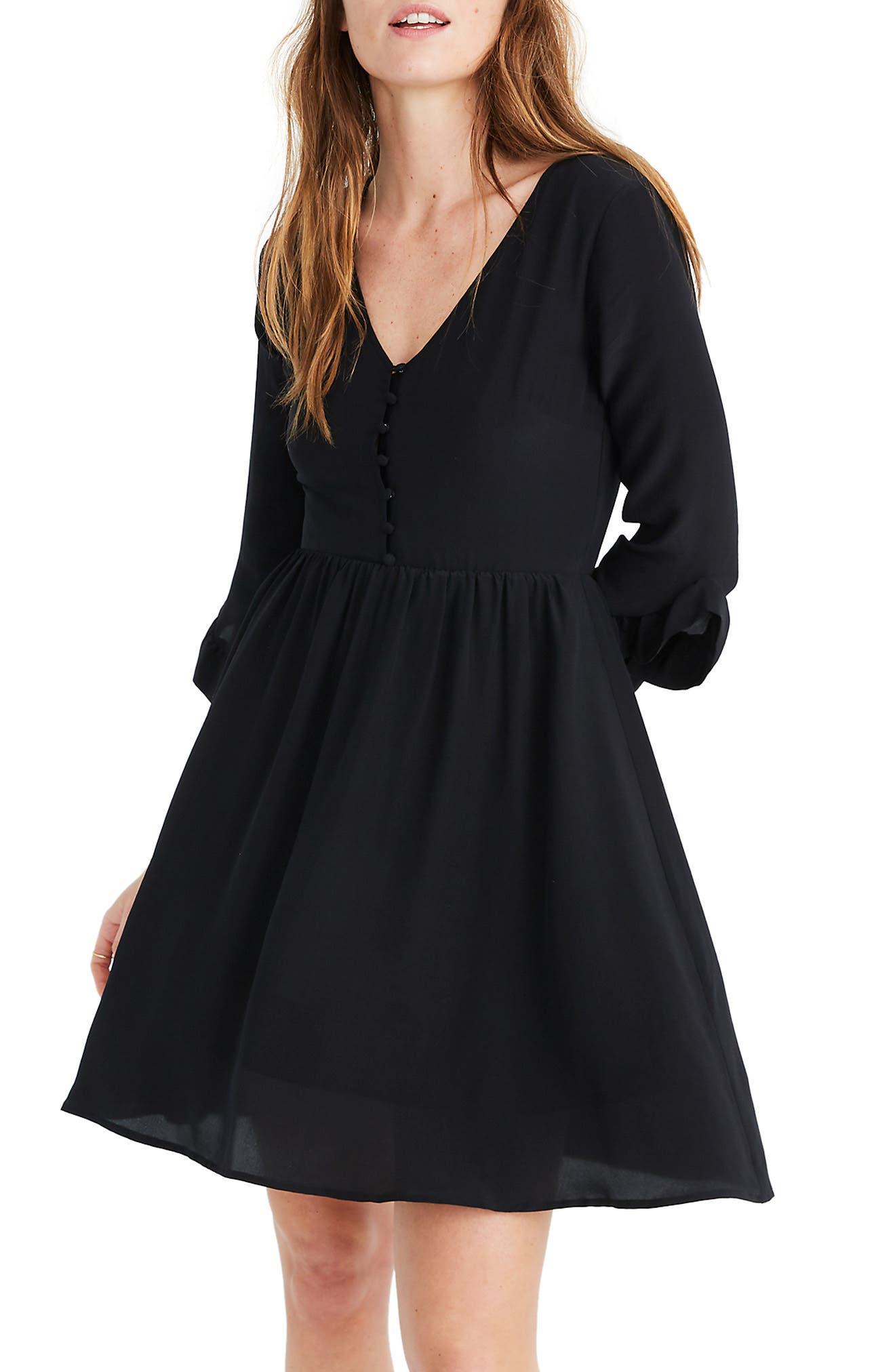 Madewell Moonblossom Ruffle Sleeve Silk Dress, Black