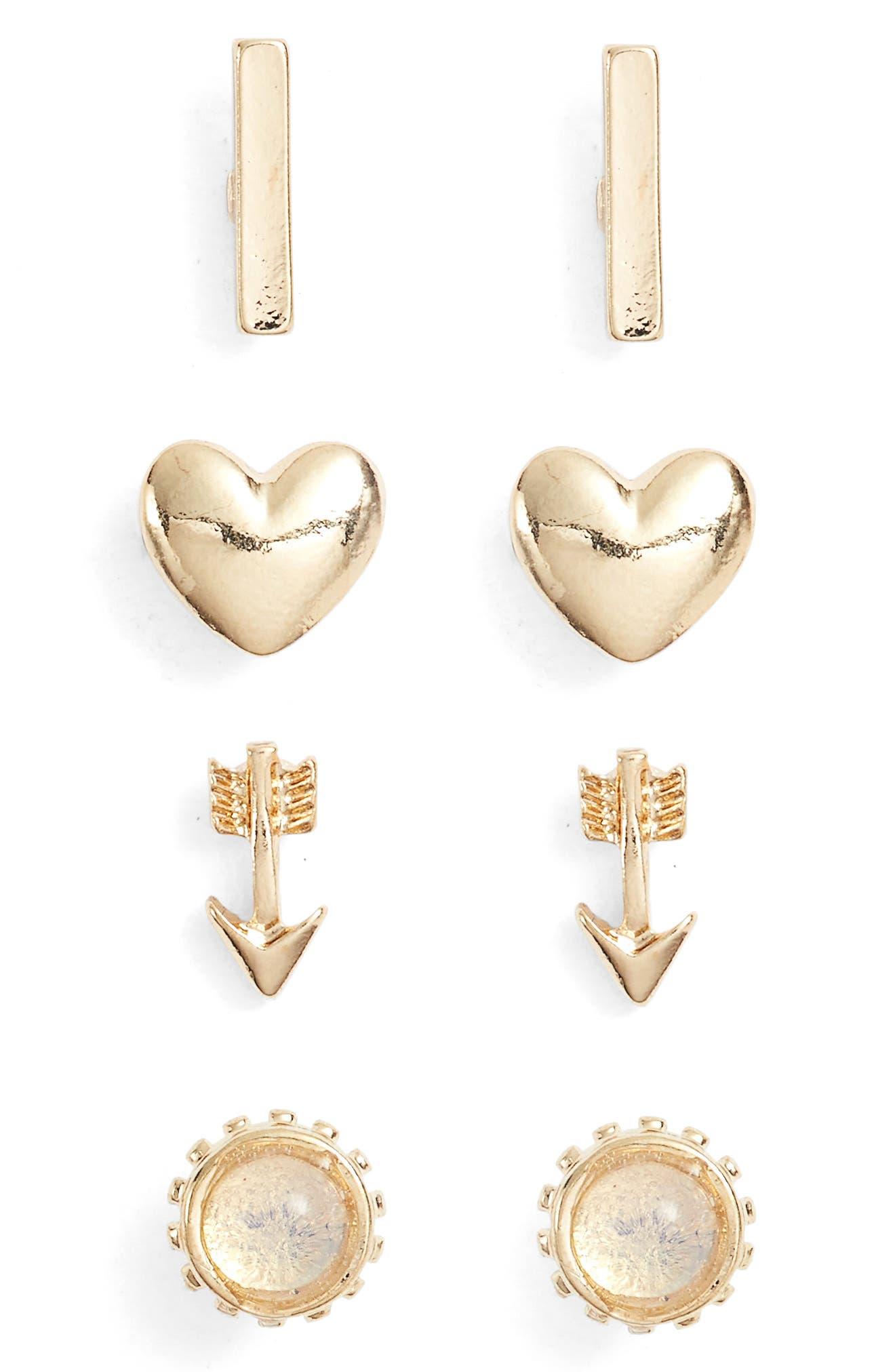 Set of 4 Stud Earrings,                             Main thumbnail 1, color,                             GOLD