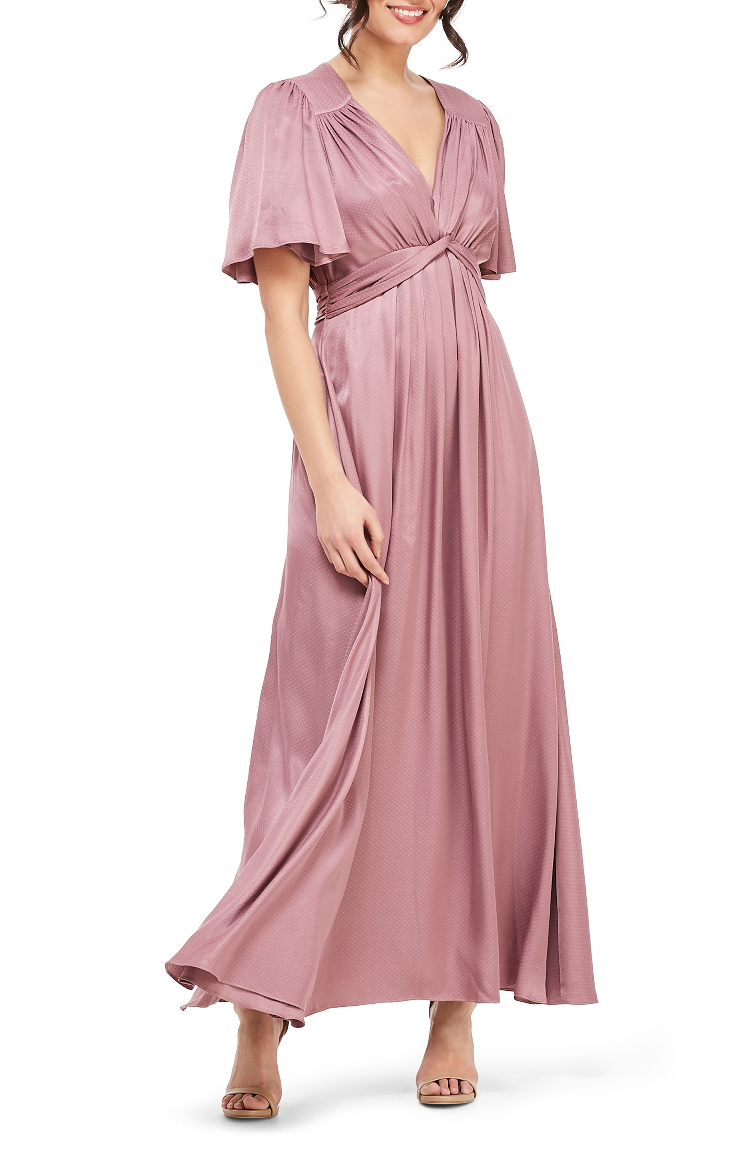 Gal Meets Glam Collection Genevieve Empire Waist Pleated Maxi Dress, Purple