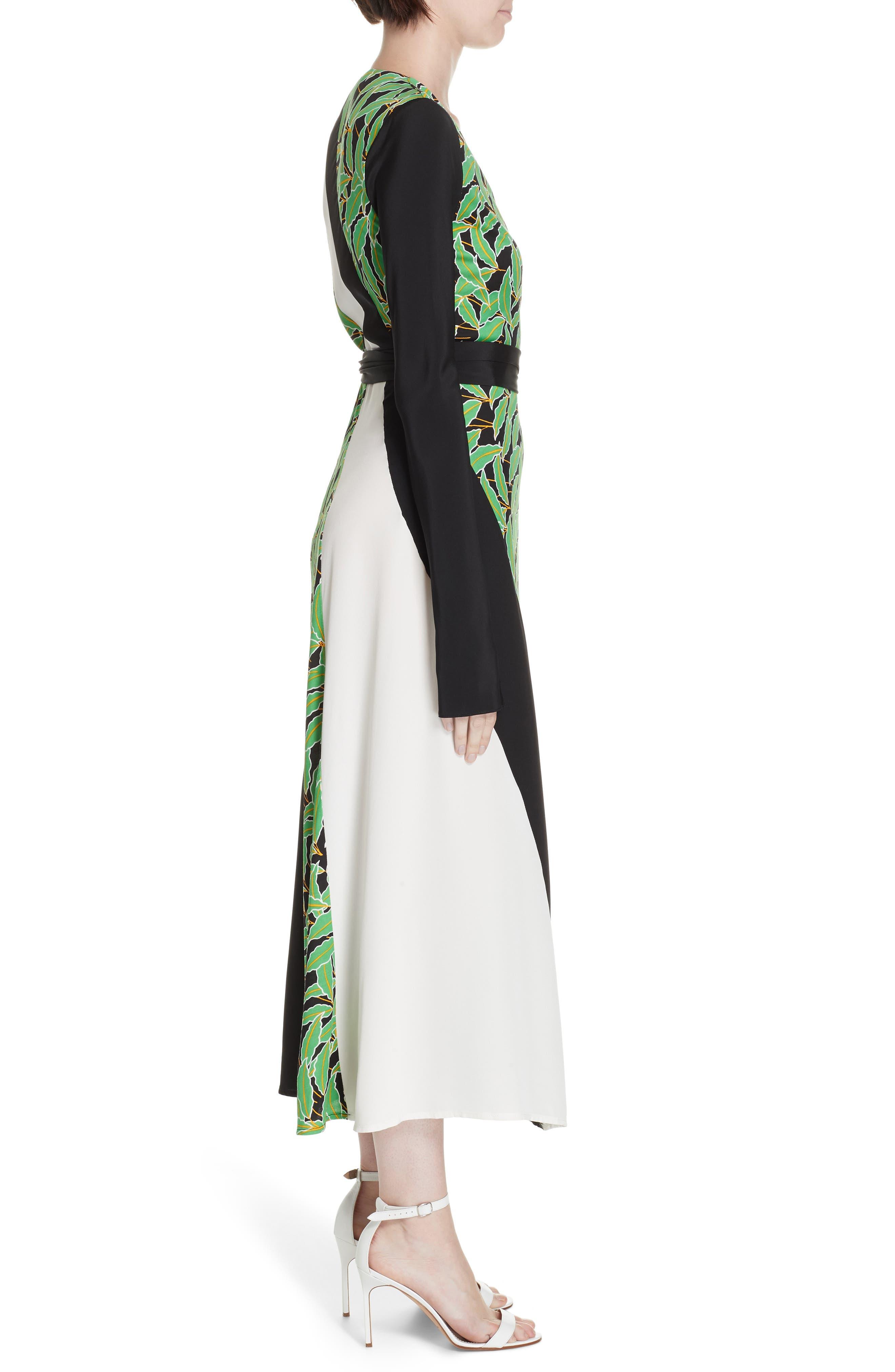 Maureen Leaf Print Silk Wrap Dress,                             Alternate thumbnail 3, color,                             WINDSOR PALM BLACK MULTI