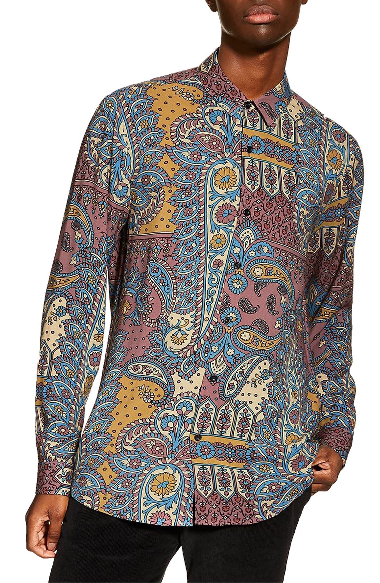 Topman Paisley Slim Fit Sport Shirt, None