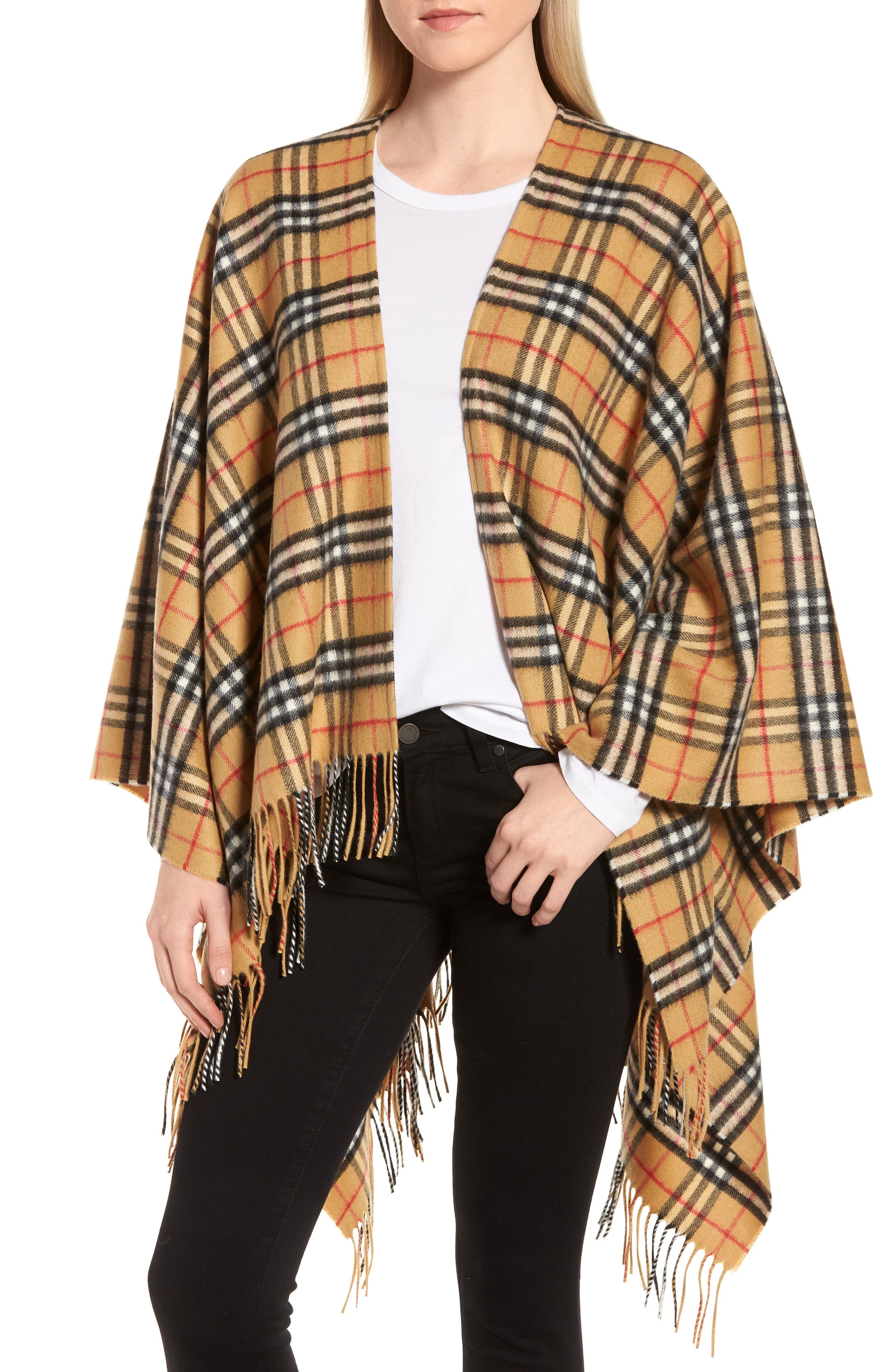 Vintage Check Cashmere & Wool Cape,                             Main thumbnail 1, color,                             ANTIQUE YELLOW