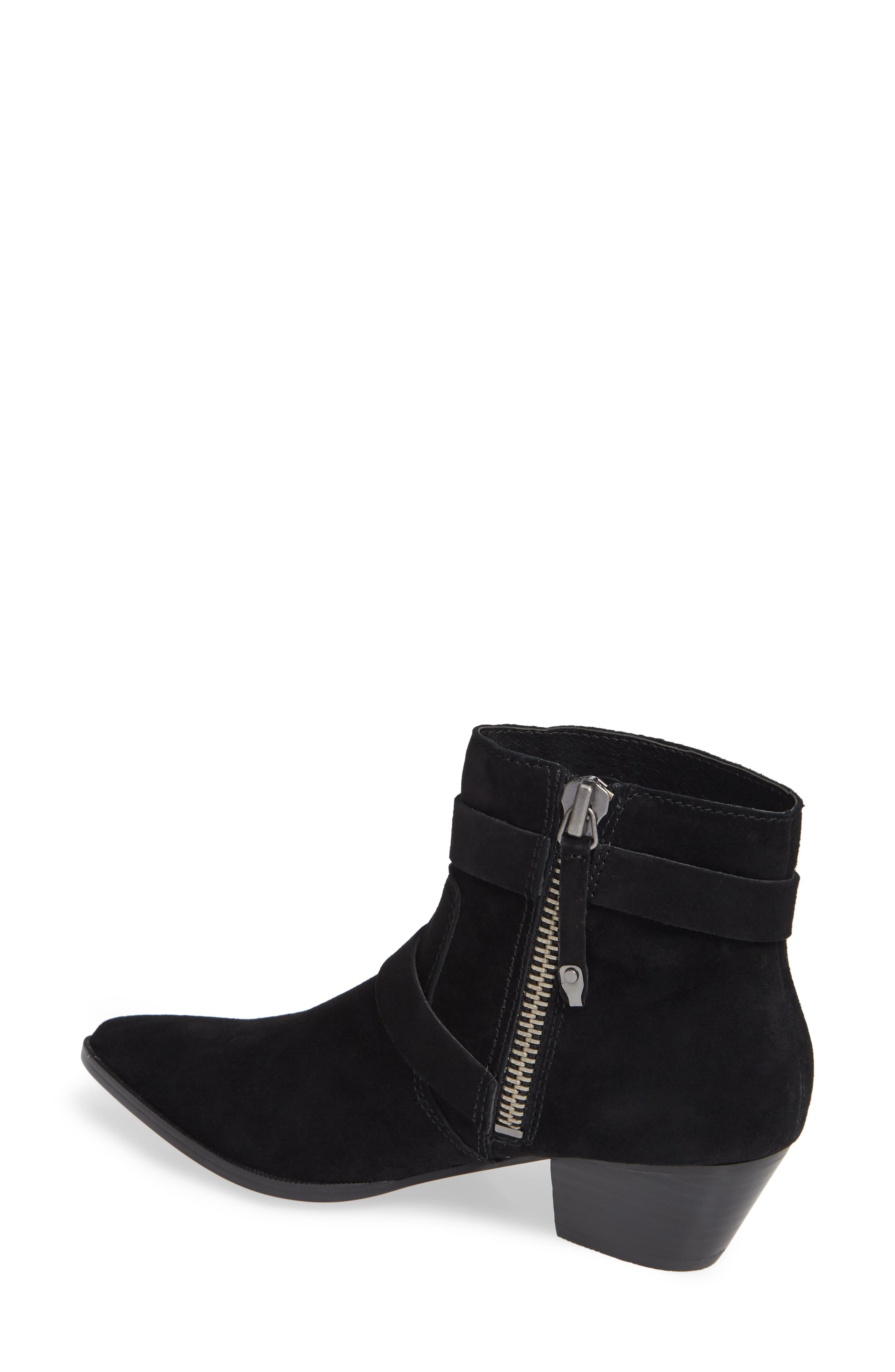 Cuff Buckle Strap Bootie,                             Alternate thumbnail 2, color,                             BLACK SUEDE