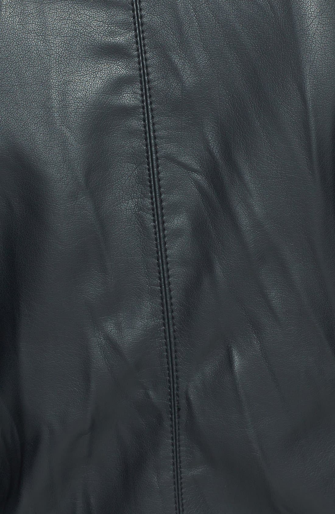Fitted Faux Leather & Knit Jacket,                             Alternate thumbnail 3, color,                             001