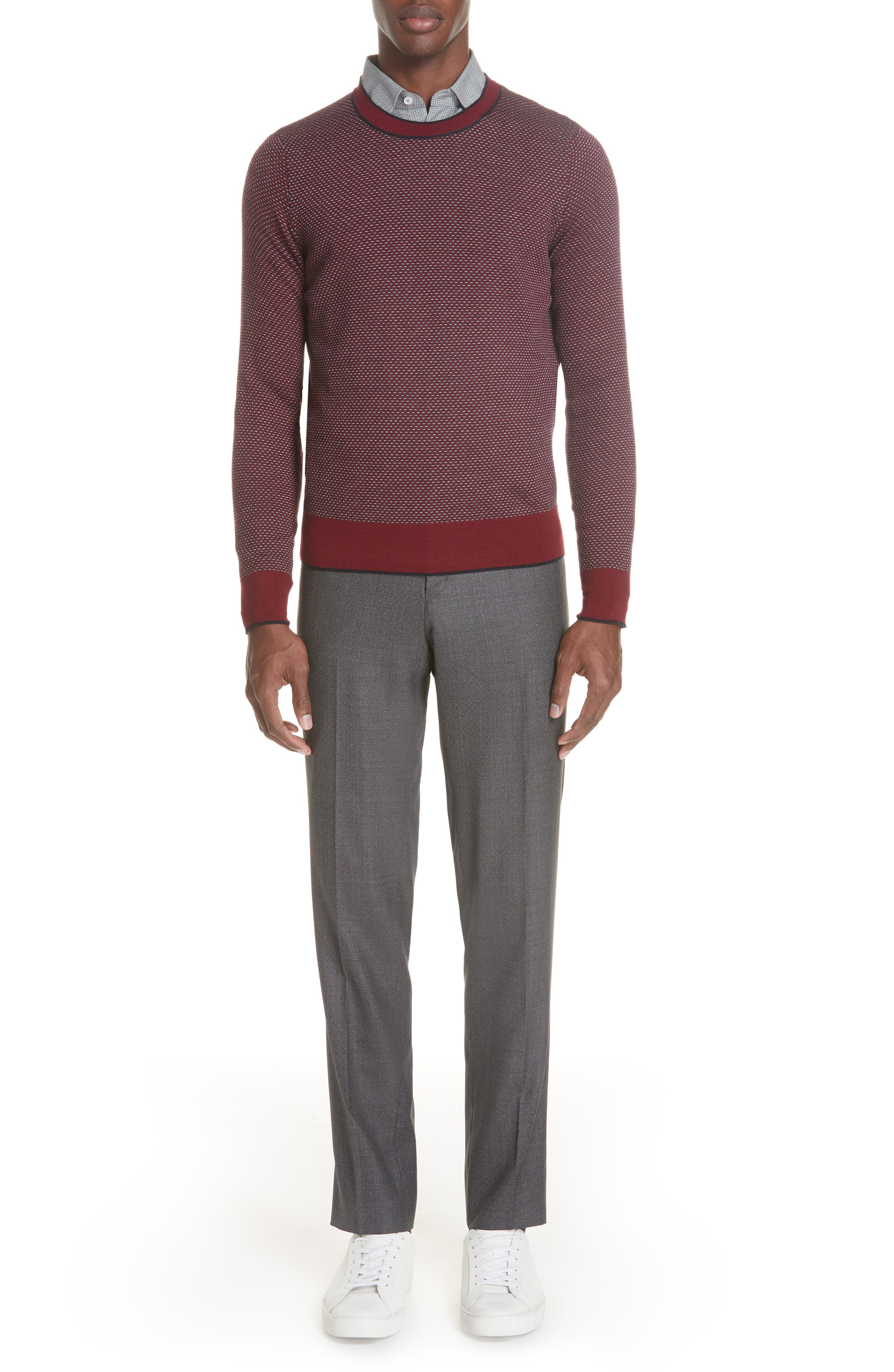 Flat Front Solid Wool Trousers,                             Alternate thumbnail 7, color,                             CHARCOAL