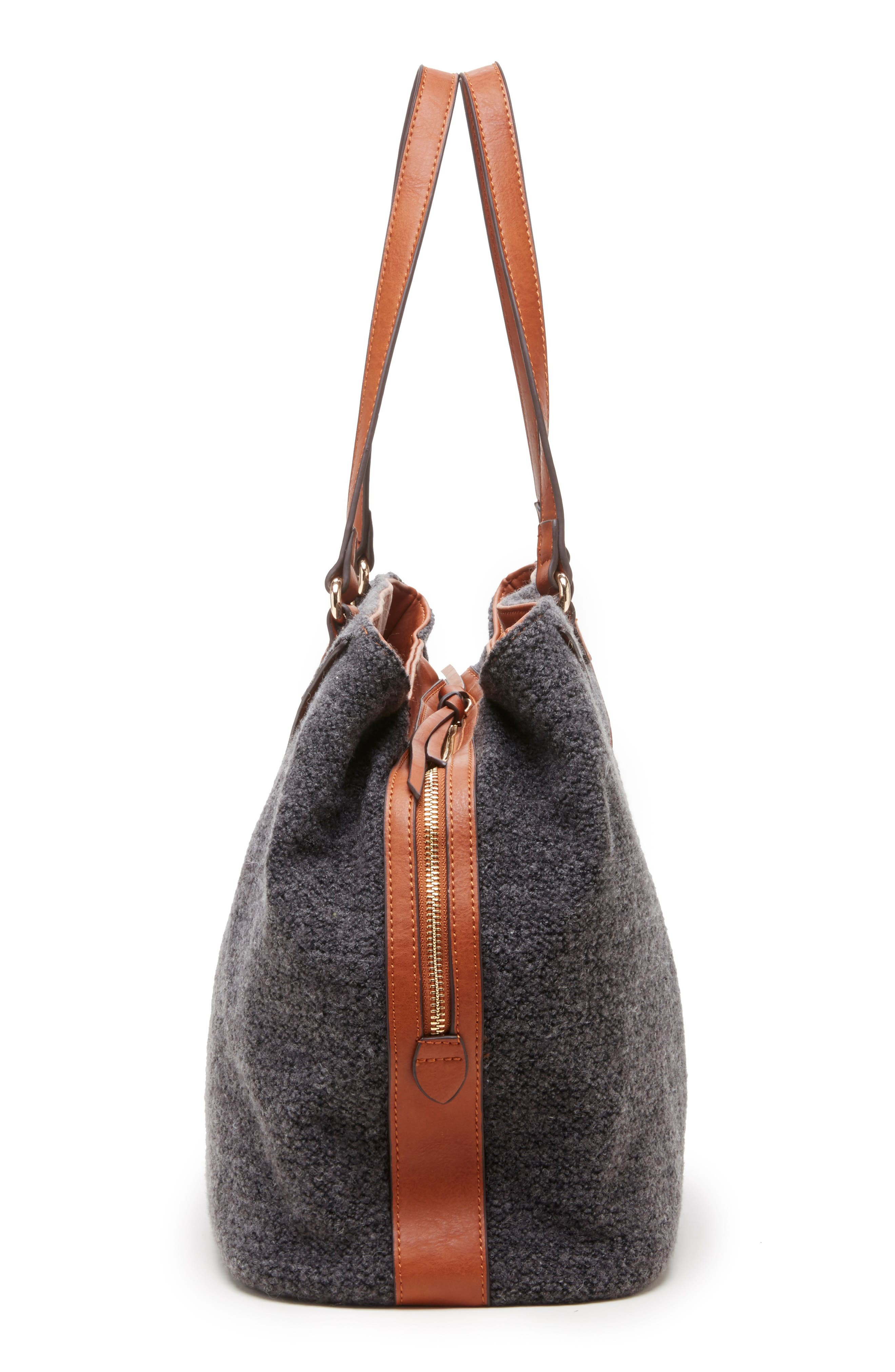 Ginny Woven Tote,                             Alternate thumbnail 4, color,                             GREY FLANNEL