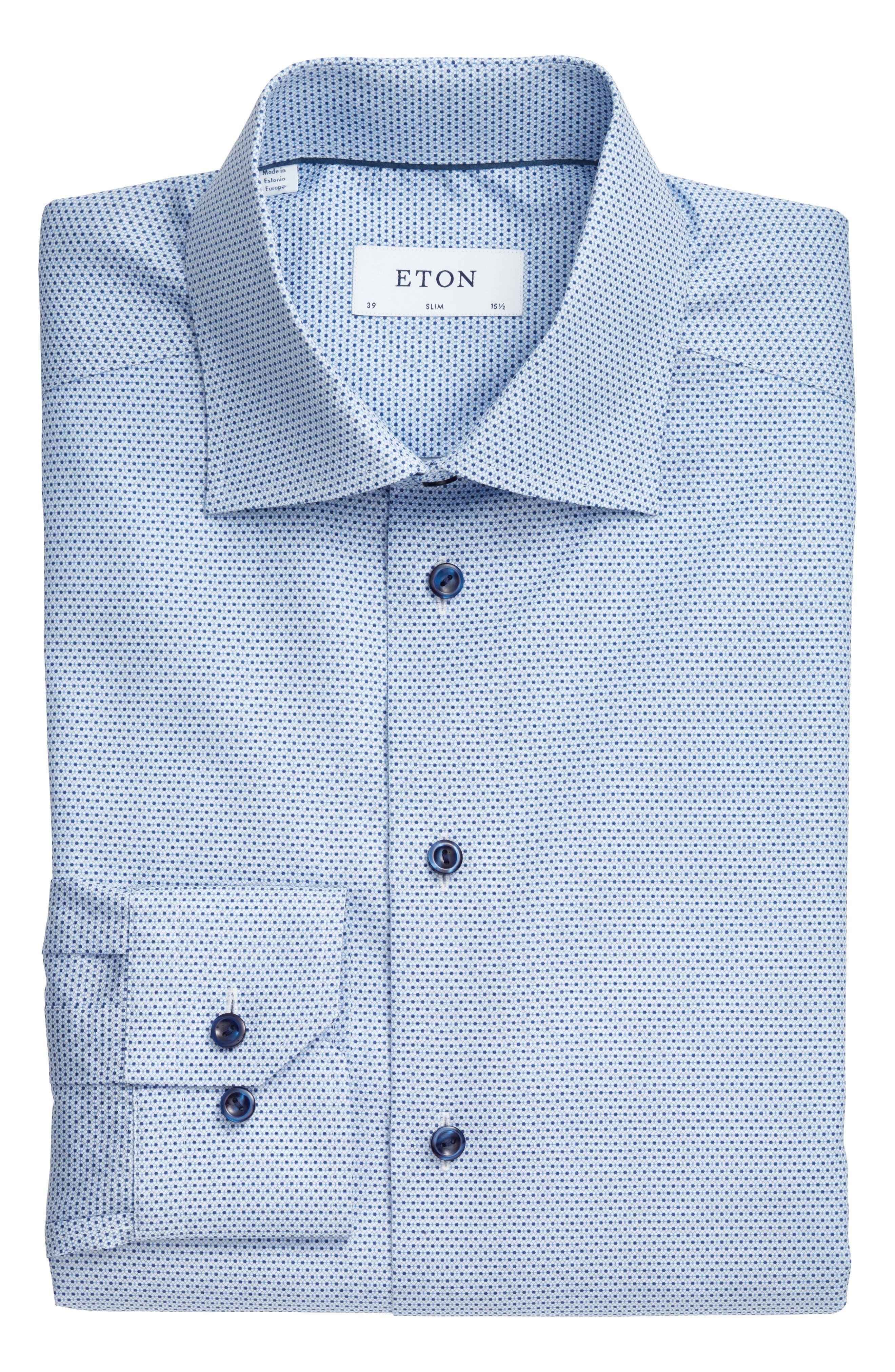Slim Fit Geometric Dress Shirt,                             Alternate thumbnail 3, color,                             400