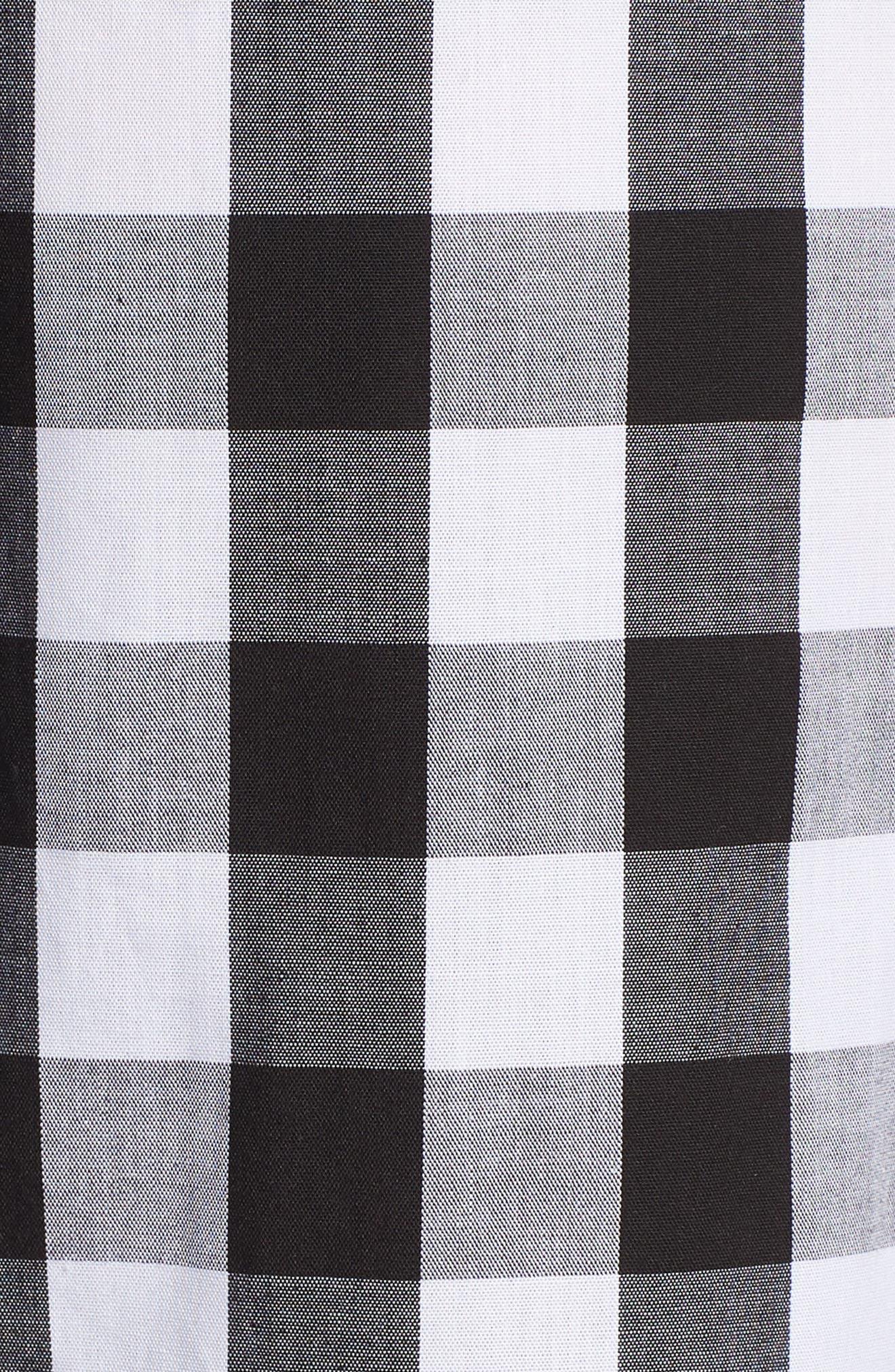 Mixed Gingham Print Wrap Dress,                             Alternate thumbnail 5, color,                             001