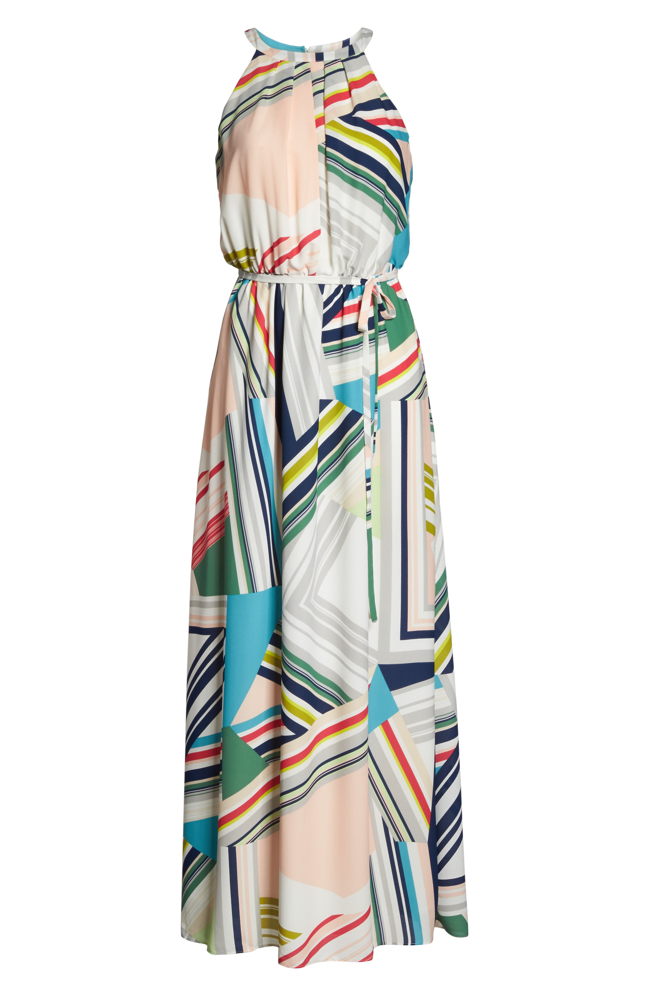 Stripe Maze Pleated Maxi Dress,                             Alternate thumbnail 6, color,                             196