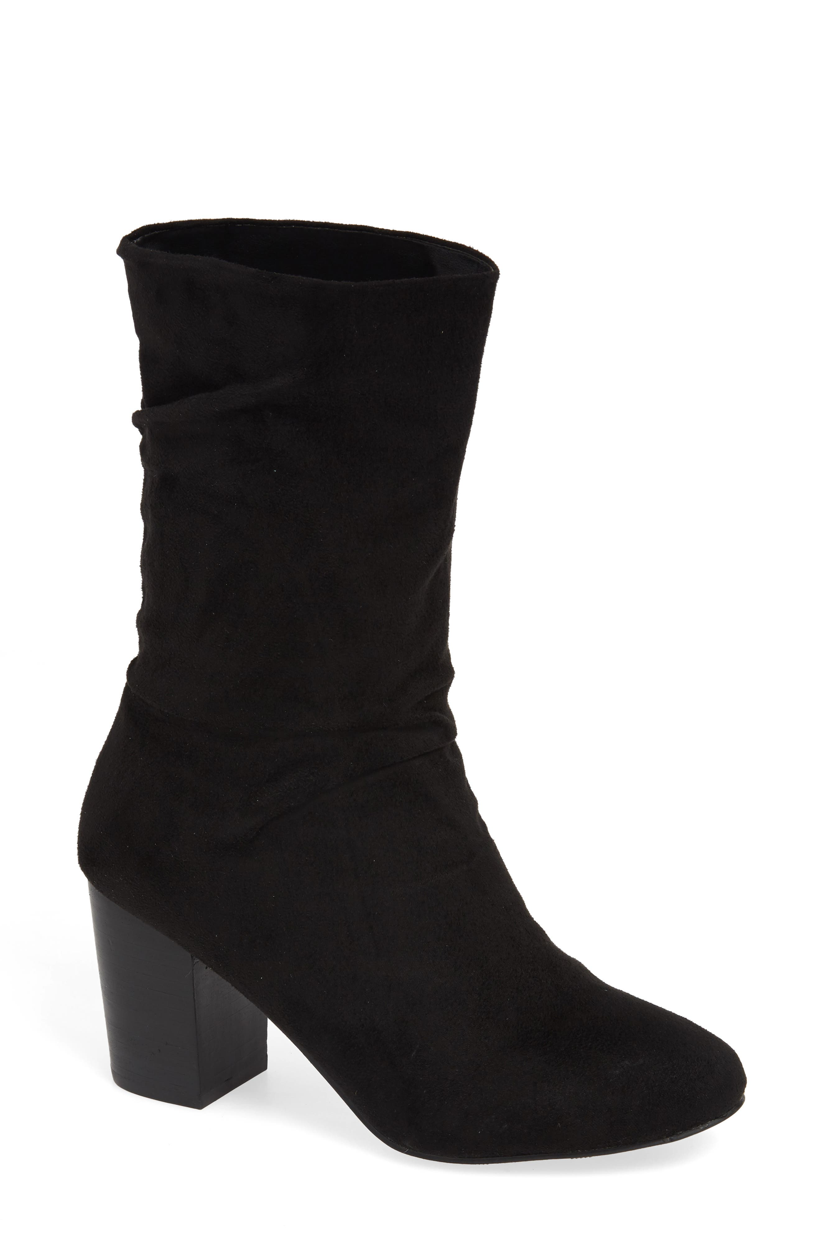 Steffani Slouchy Pull-On Bootie,                             Main thumbnail 1, color,                             BLACK