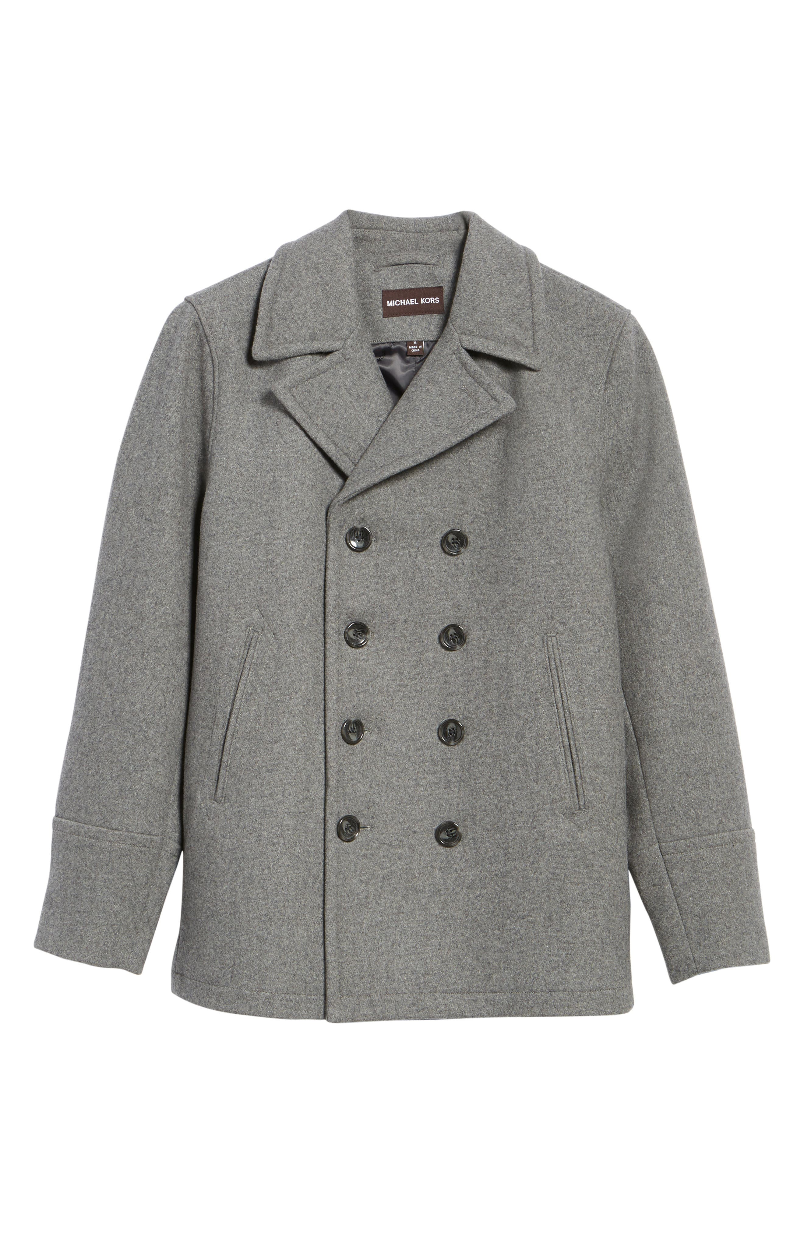 Wool Blend Double Breasted Peacoat,                             Alternate thumbnail 81, color,