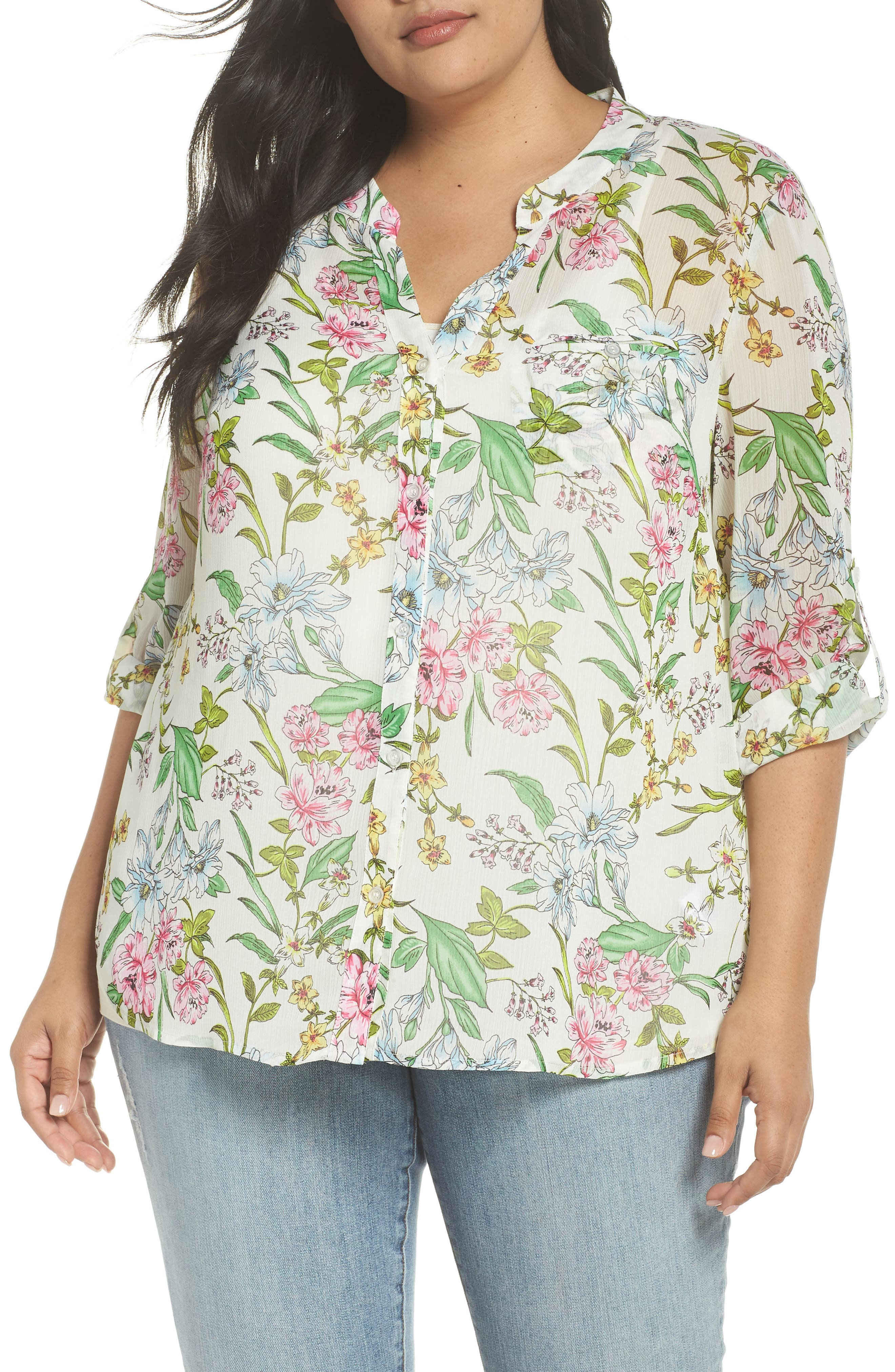 Jasmine Floral Roll Sleeve Top,                         Main,                         color, WHITE/ GREEN