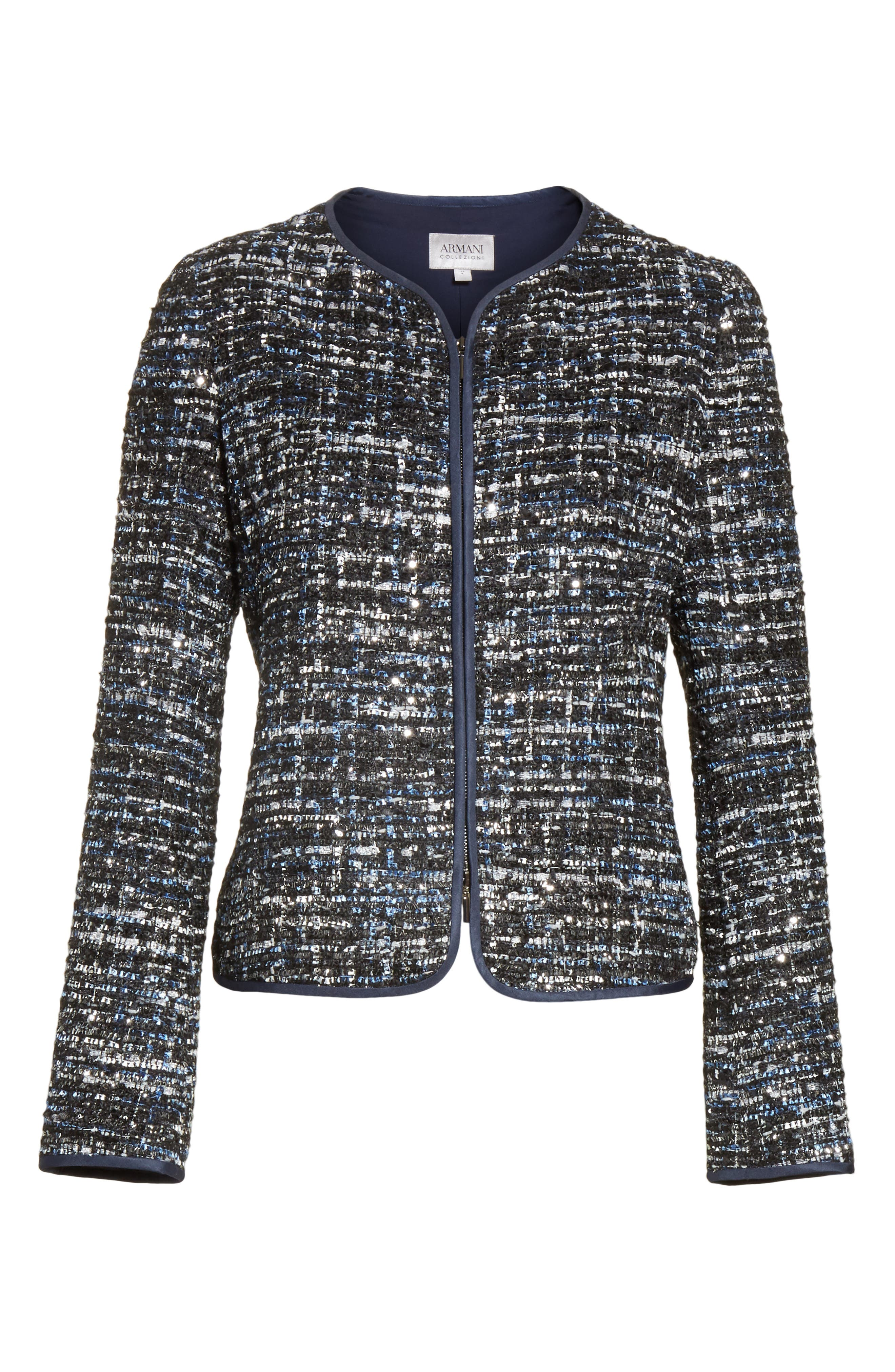 Sequin Tweed Jacket,                             Alternate thumbnail 5, color,                             001