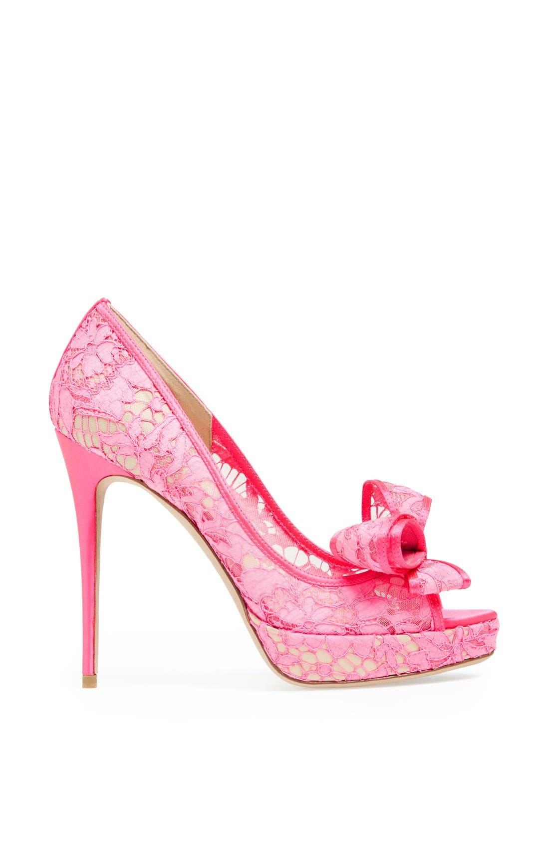 'Lace Couture Bow' Open Toe Pump,                             Alternate thumbnail 4, color,                             651