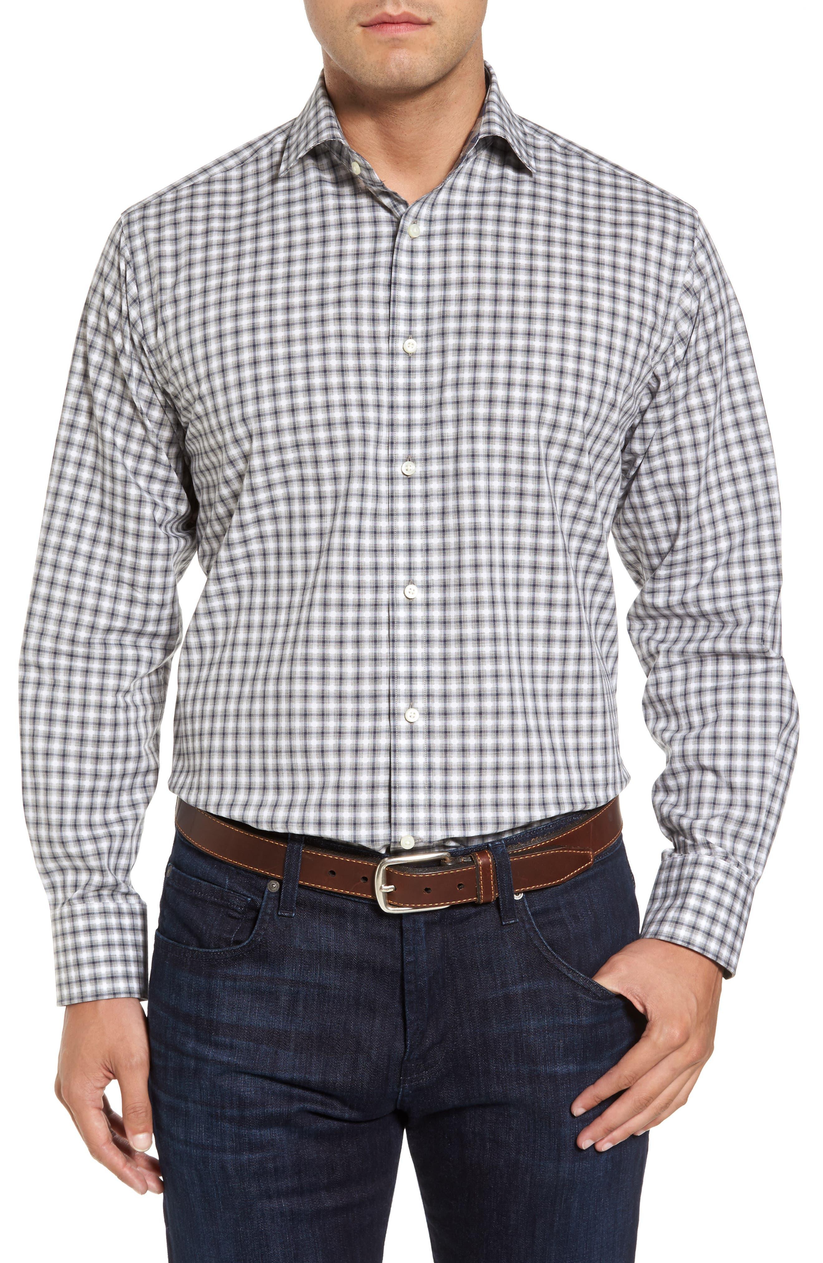 Regular Fit Gradient Check Sport Shirt,                         Main,                         color, 020